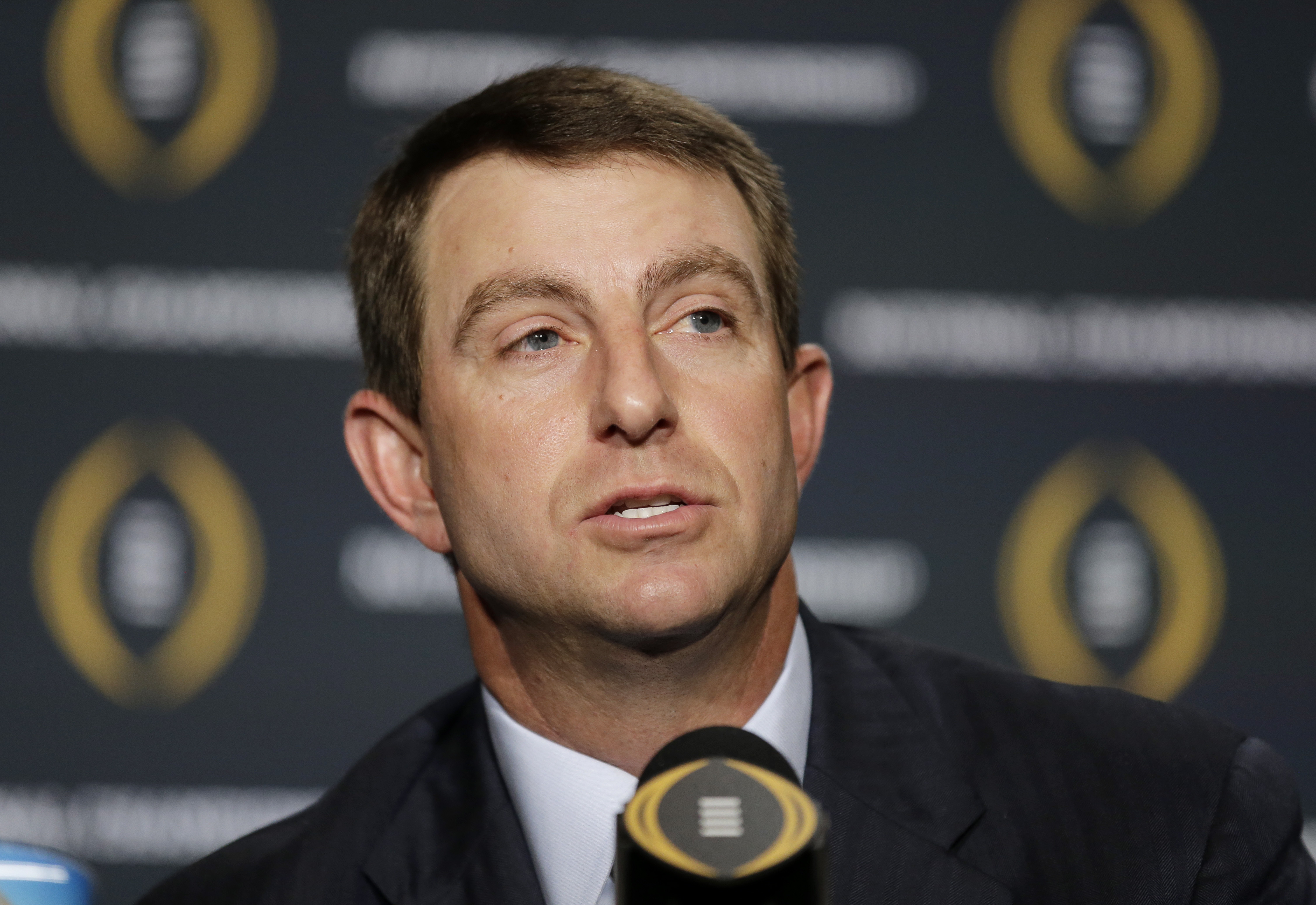 Clemson head coach Dabo Swinney speaks during a news conference for the NCAA college football playoff championship game Sunday, Jan. 10, 2016, in Glendale, Ariz. (AP Photo/Chris Carlson)