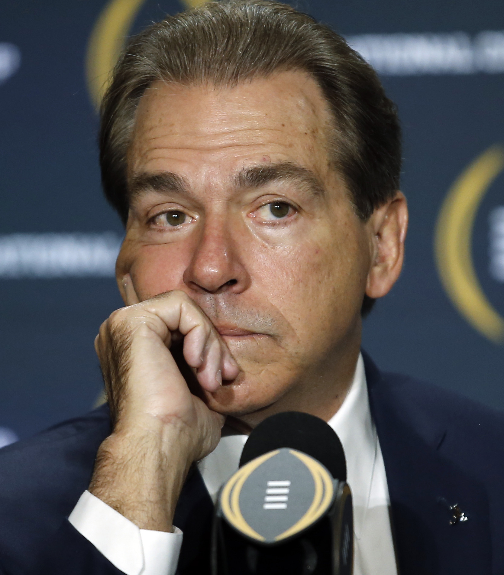 Alabama head coach Nick Saban listens during a news conference for the NCAA college football playoff championship game Sunday, Jan. 10, 2016, in Glendale, Ariz. (AP Photo/Morry Gash)