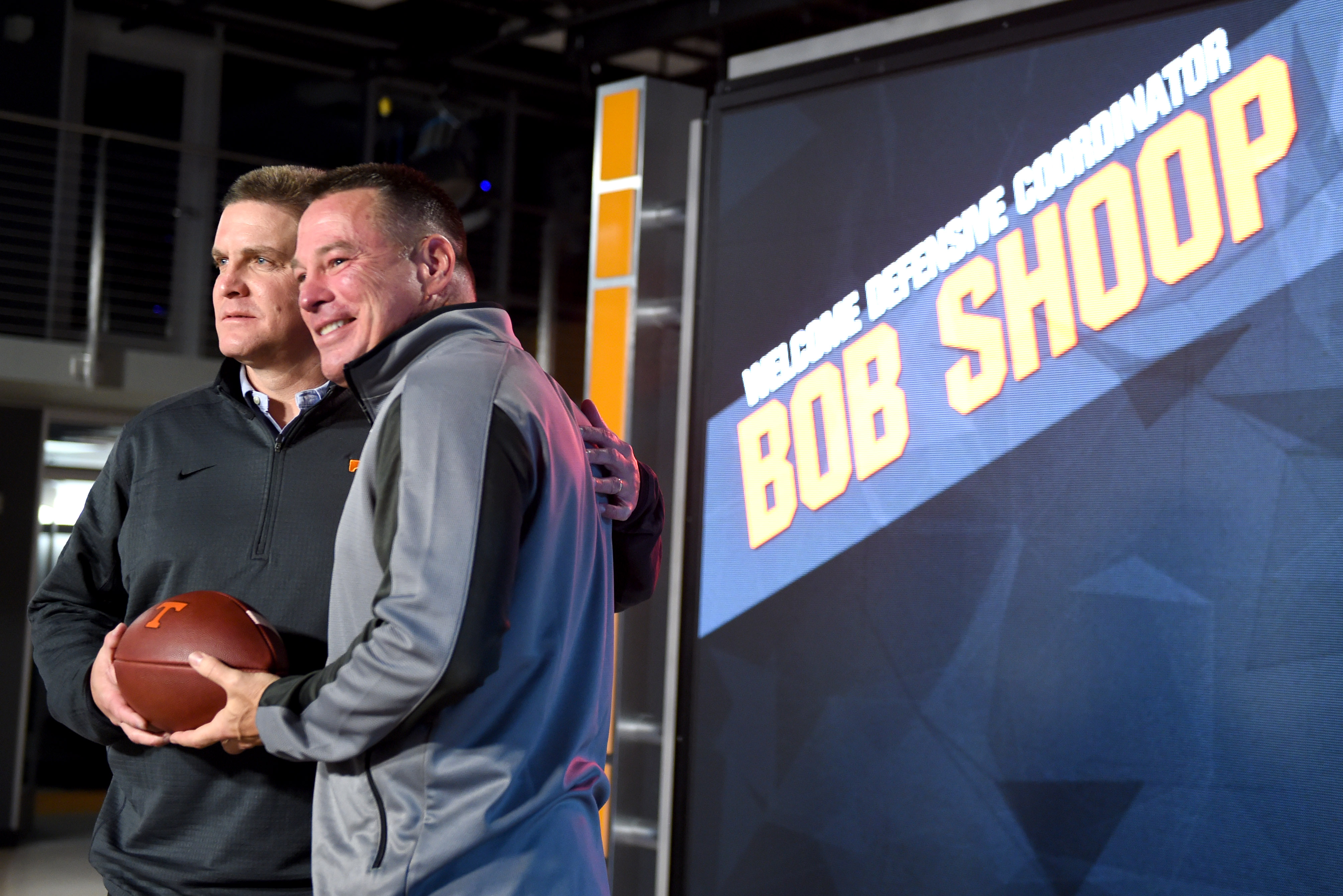 Tennessee football coach Butch Jones, right, poses with the team's new defensive coordinator, Bob Shoop, during a news conference Tuesday, Jan. 12, 2016, in Knoxville, Tenn. (Amy Smotherman Burgess/Knoxville News Sentinel via AP)