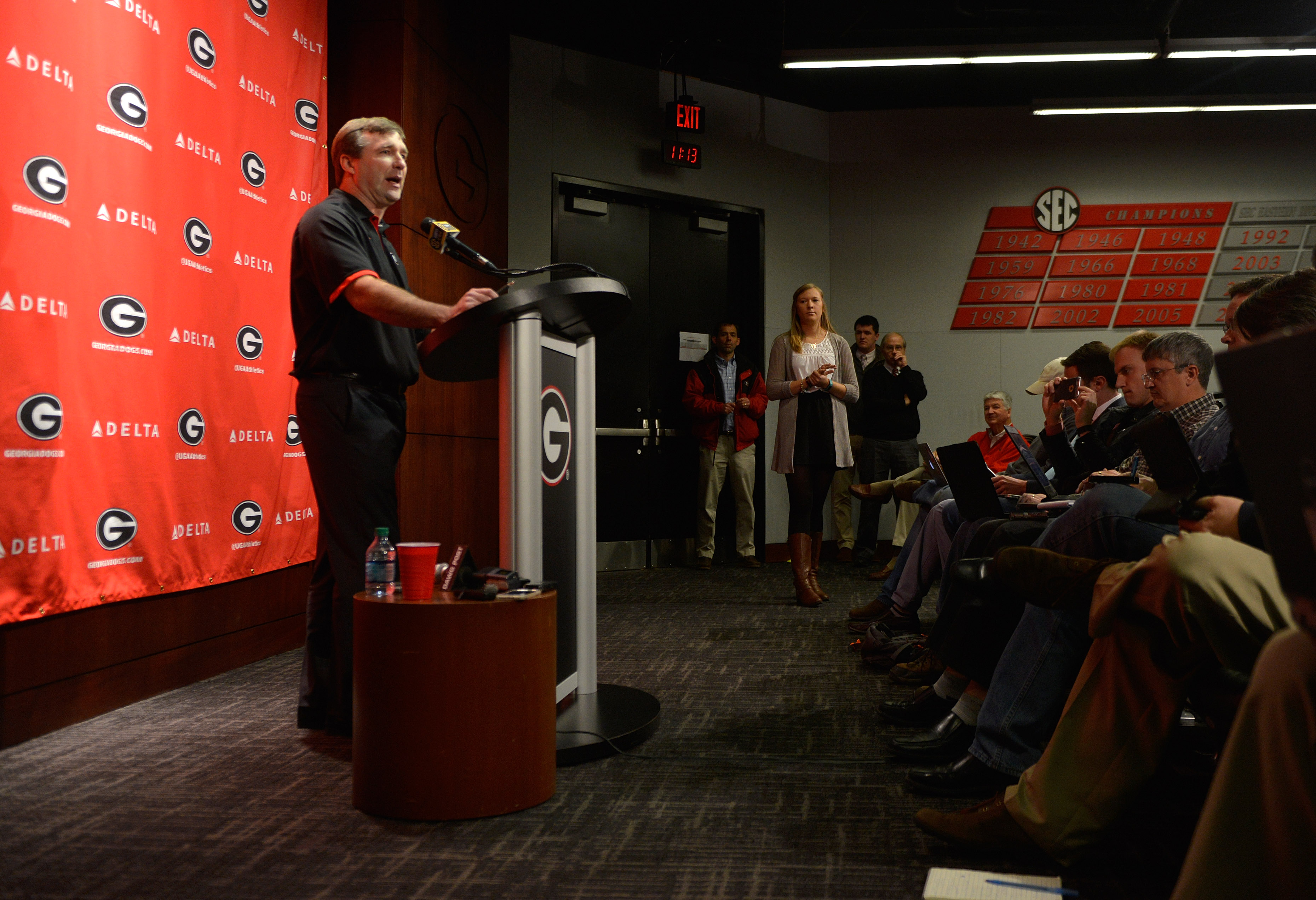 University of Georgia NCAA college football head coach Kirby Smart speaks during a press conference in Athens, Ga., Wednesday, Jan. 13, 2016.   (Richard Hamm/Athens Banner-Herald via AP) MAGS OUT; MANDATORY CREDIT