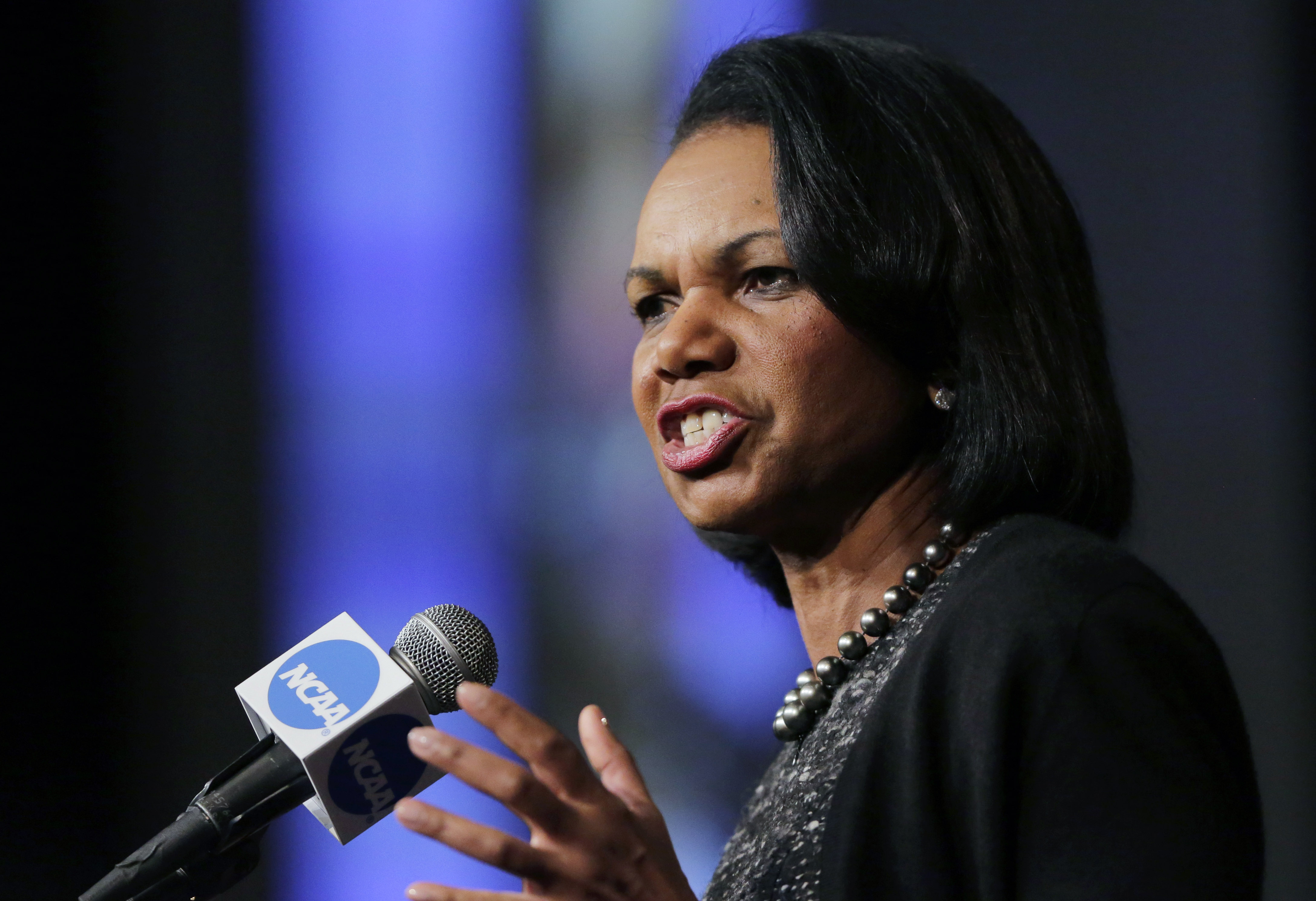 Former Secretary of State Condoleeza Rice speaks during a luncheon at the NCAA Convention, Thursday, Jan. 14, 2016, in San Antonio. (AP Photo/Eric Gay)
