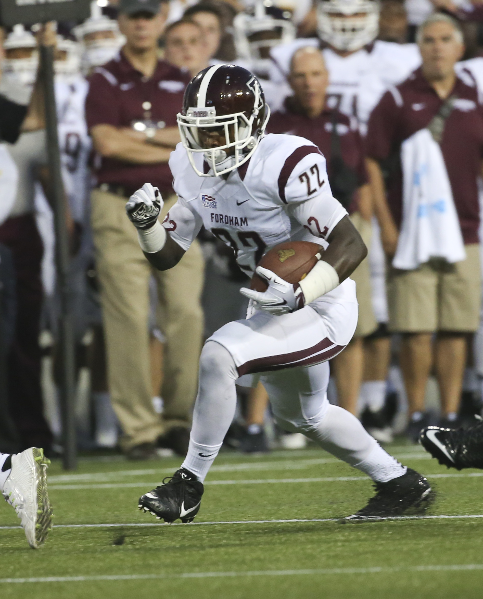 Fordham running back Chase Edmonds (22) runs the ball during the first half of an NCAA college football game against Army on Friday, Sept. 4, 2015, in West Point, N.Y. (AP Photo/Mike Groll)
