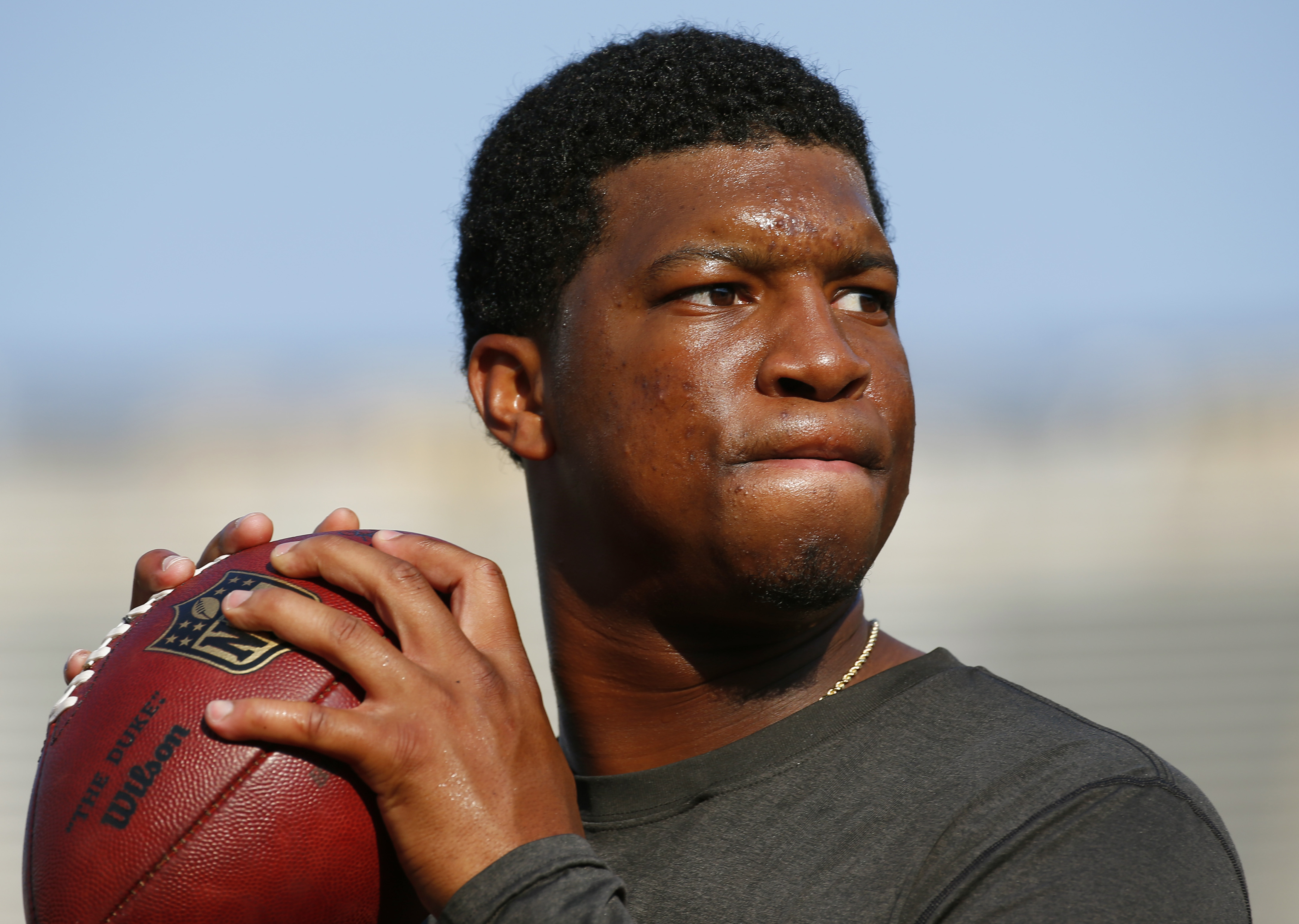 FILE - In this Aug. 15, 2015, file photo, Tampa Bay Buccaneers quarterback Jameis Winston warms up before a preseason NFL football game against the Minnesota Vikings at TCF Bank Stadium in Minneapolis. Florida State University said Monday, Jan. 25, 2016,