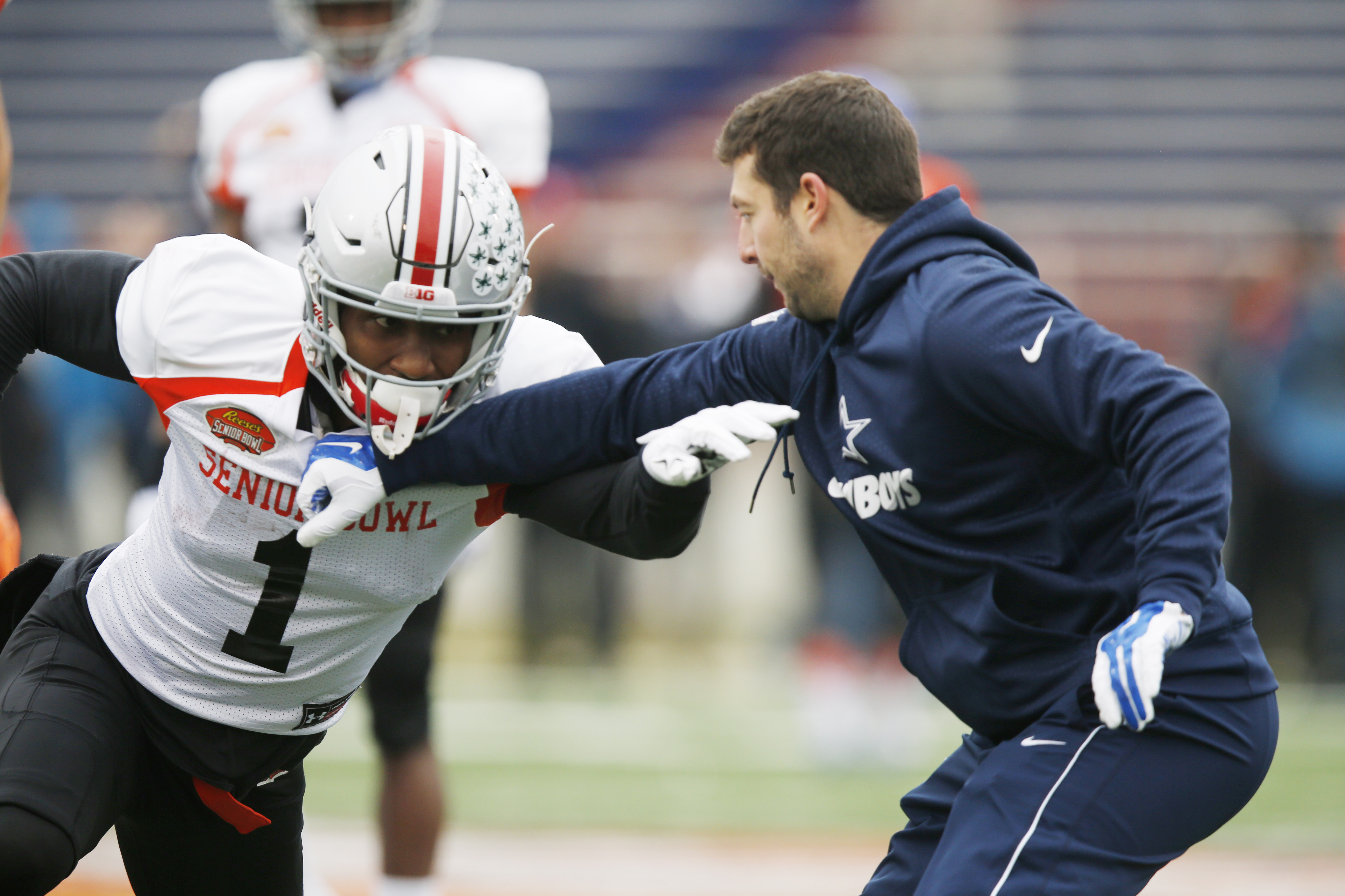 Ohio State wide receiver Braxton Miller (1) runs through drills during NCAA college football practice for the Senior Bowl, Wednesday, Jan. 27, 2016, at LaddPeebles Stadium, in Mobil, Ala. (AP Photo/Brynn Anderson)