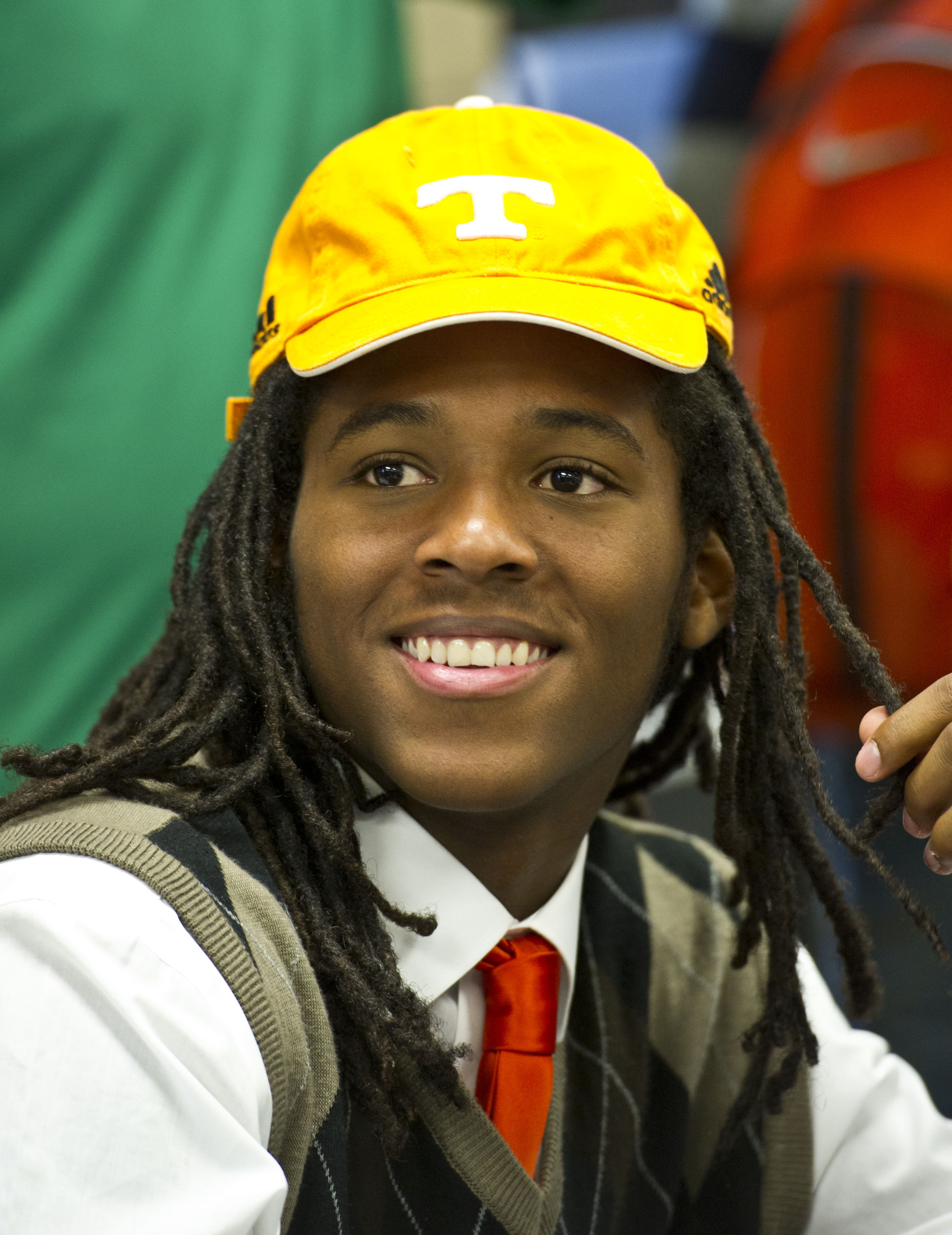 Warner Robins football standout Marquez Callaway dons a Tennessee cap after signing a letter of intent to attend the University of Tennessee during national signing day, Wednesday, Feb. 3, 2016, in Warner Robbins, Ga. (Woody Marshall/The Macon Telegraph v