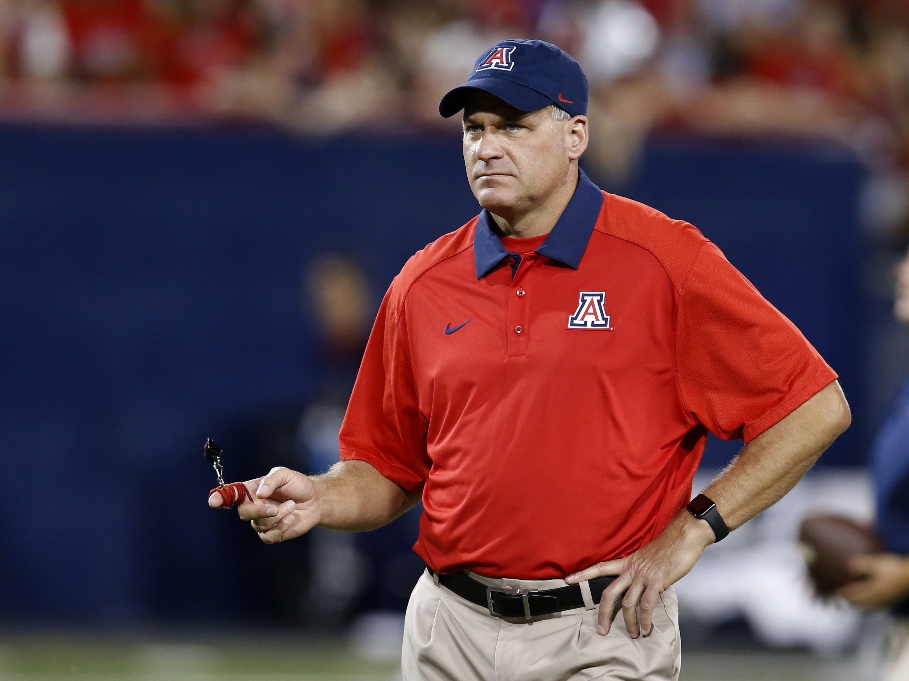 FILE - This Sept. 19, 2015 file photo shows Arizona head coach Rich Rodriguez during the second half of an NCAA college football game against Northern Arizona, in Tucson, Ariz. Spring comes early in college football or at least spring practice does. At Ar