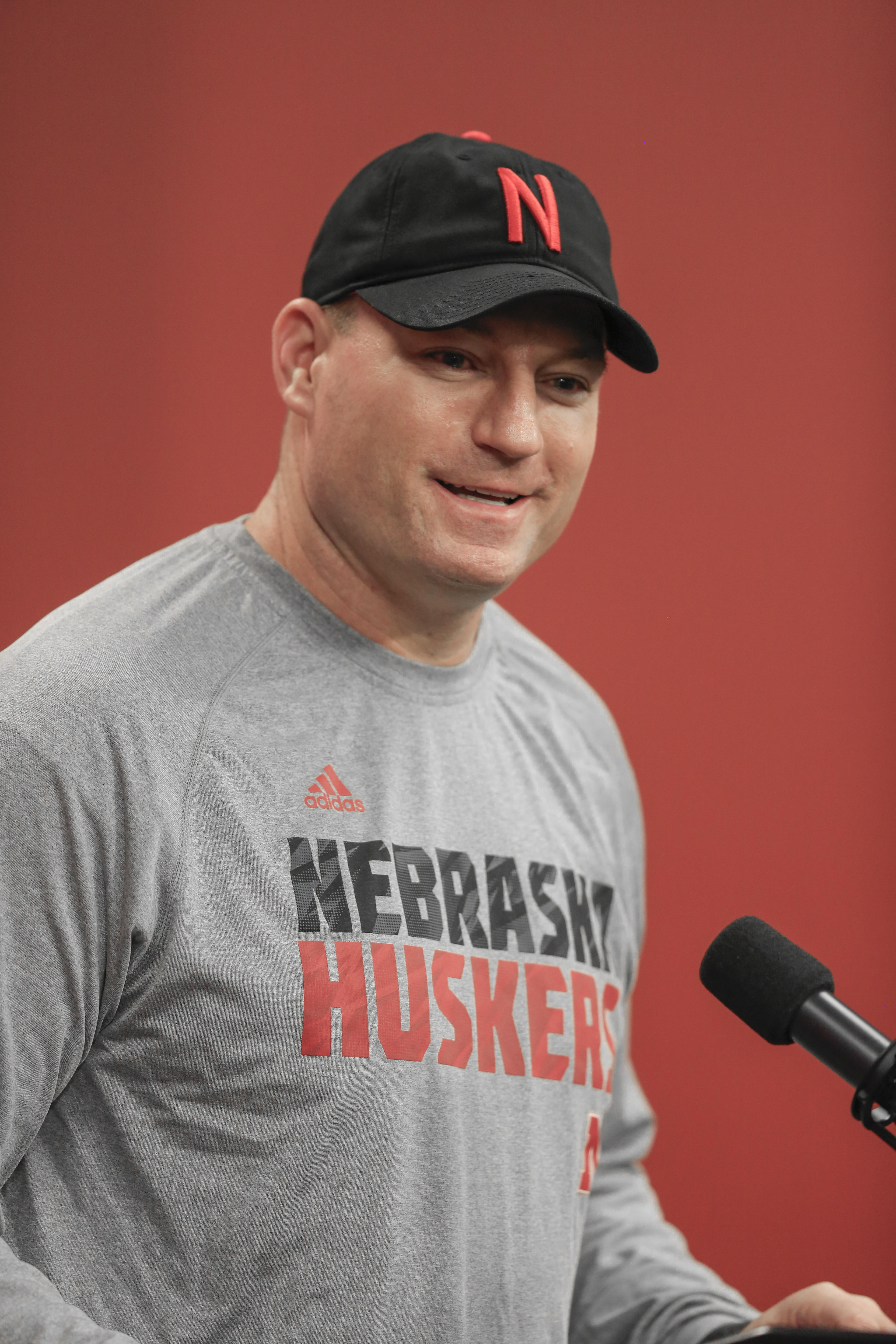 New Nebraska defensive line coach John Parrella speaks at a news conference in Lincoln, Neb., Wednesday, March 2, 2016. Parrella, a former Nebraska defensive tackle under Tom Osborne, played 12 years for three NFL teams, including the San Diego Chargers w
