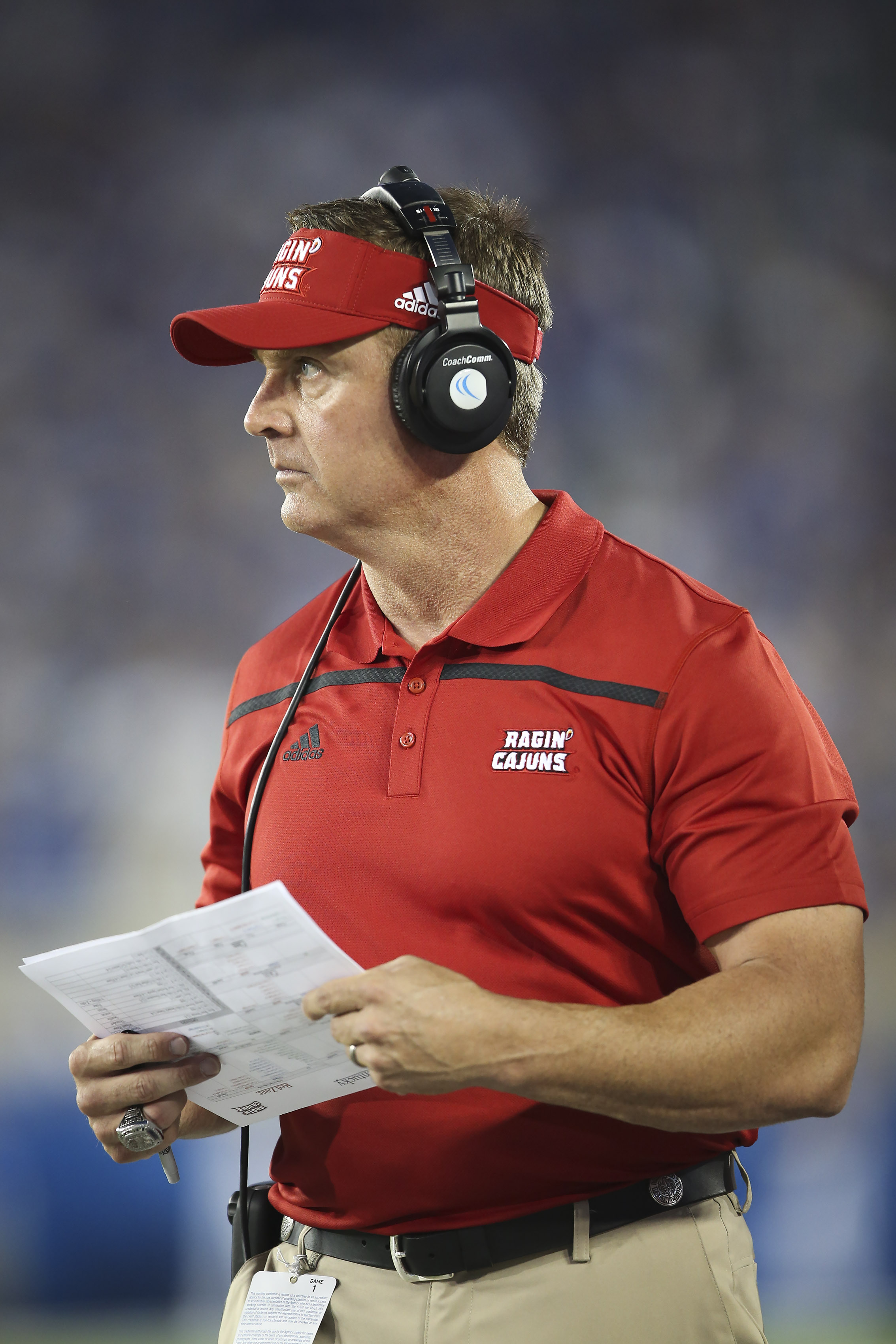 Louisiana-Lafayette head coach Mark Hudspeth watches his team from the sidelines during the first half against Kentucky in an NCAA college football game in Lexington, Ky., Saturday, Sept. 5, 2015. Kentucky won the game, 40-33. (AP Photo/David Stephenson)