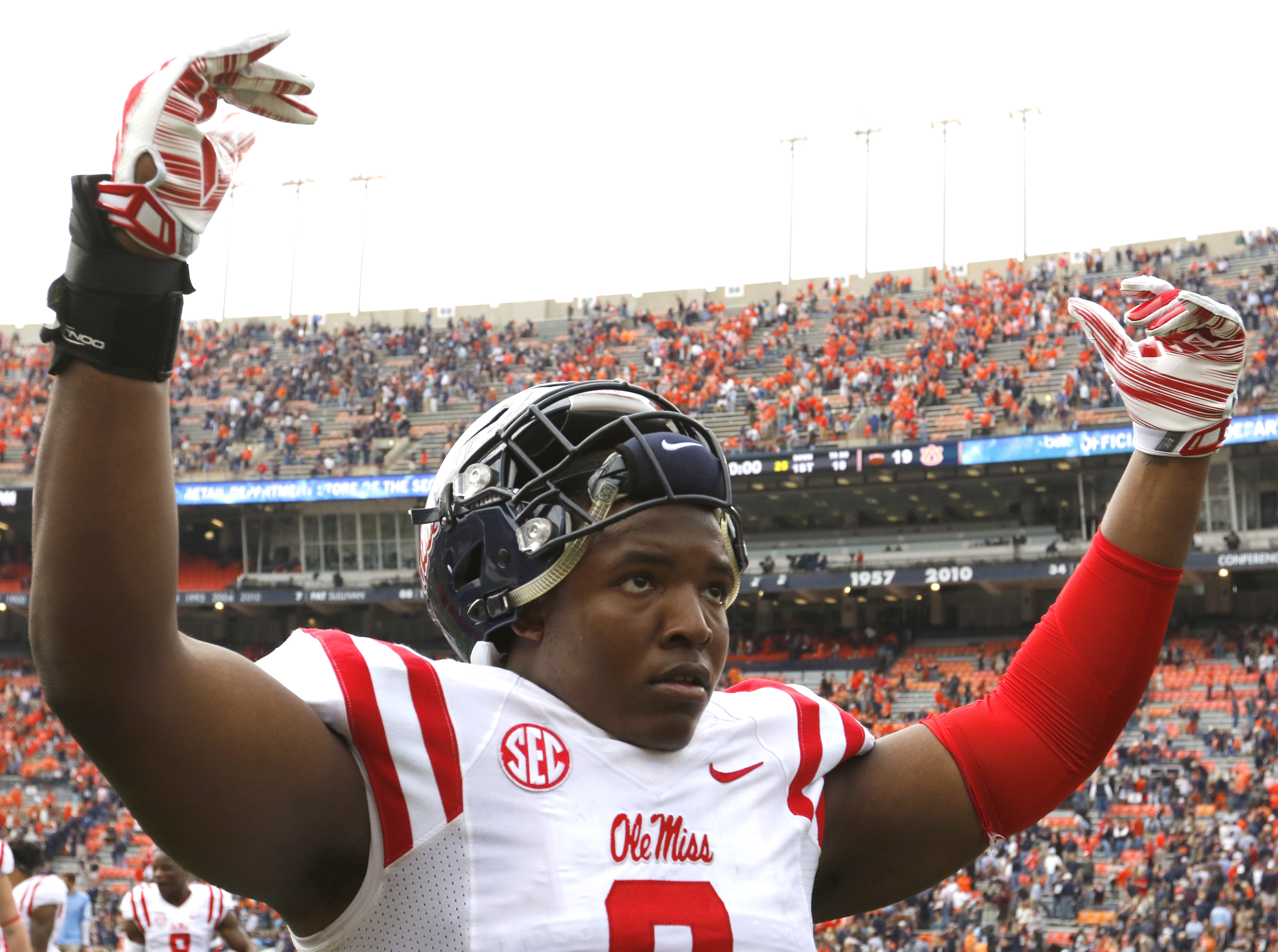 Mississippi defensive tackle Breeland Speaks (9) celebrates after they defeated Auburn 27-19 in an NCAA college football game, Saturday, Oct. 31, 2015, in Auburn, Ala. (AP Photo/Butch Dill)