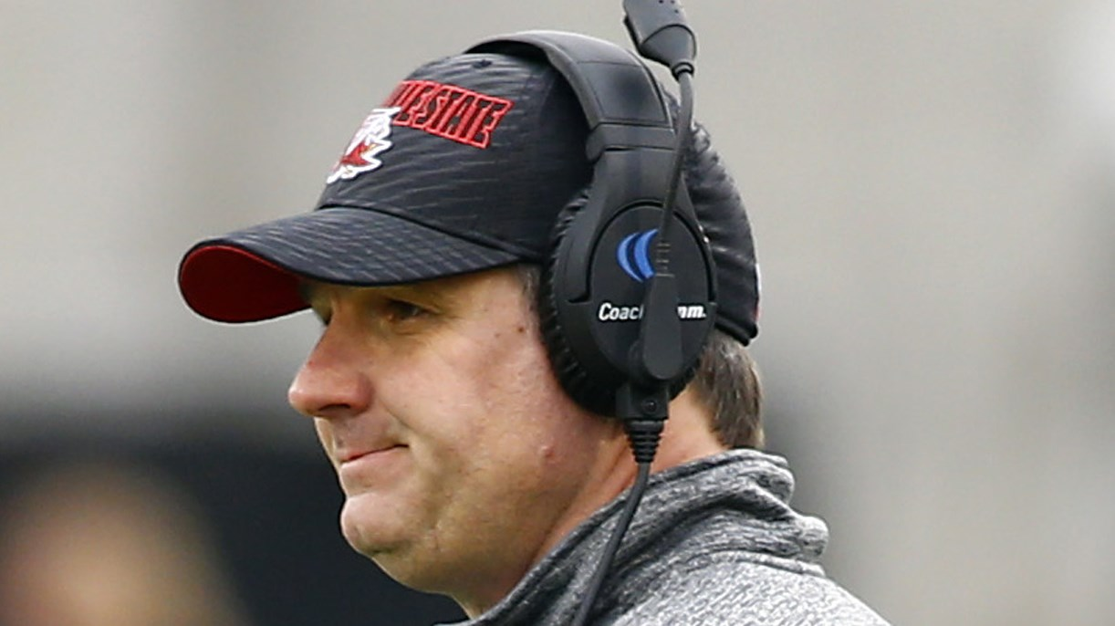 Jacksonville State head coach John Grass coaches during the FCS championship NCAA college football game between North Dakota State and Jacksonville State, Saturday, Jan. 9, 2016, in Frisco, Texas.  North Dakota State beat Jacksonville State 37-10 to win t