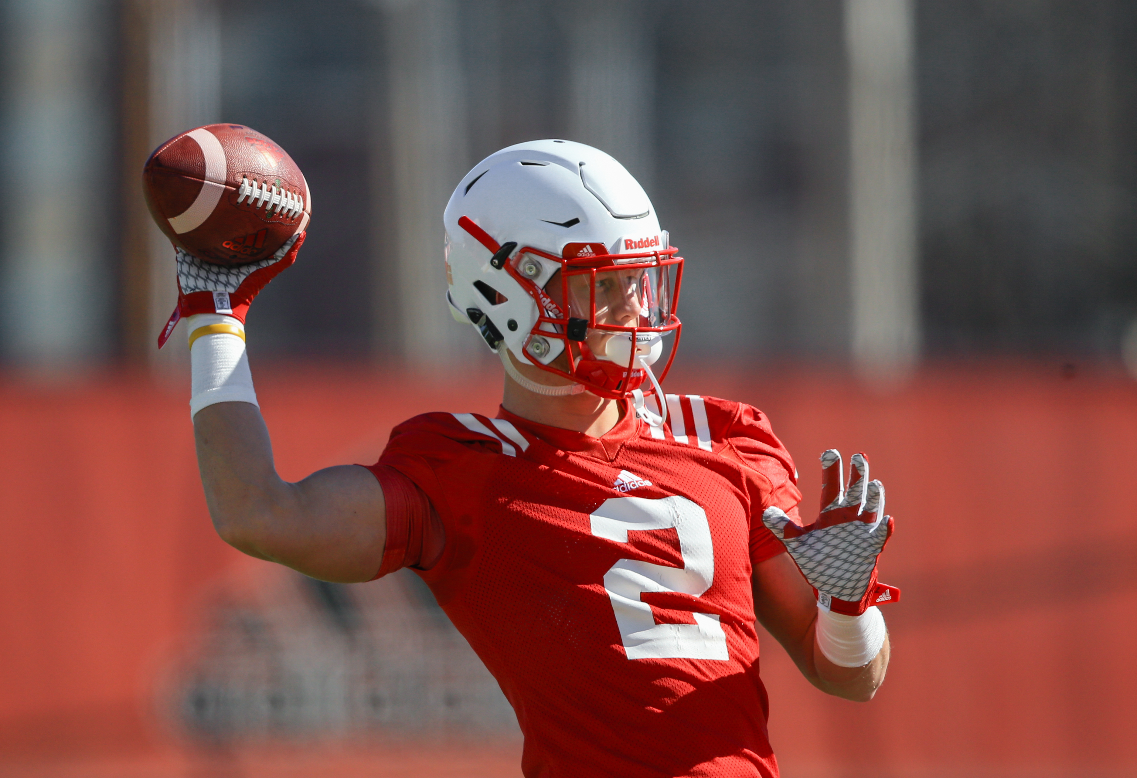 In this March 5, 2016 photo, Nebraska's Zack Darlington (2) throws on the first day of NCAA college football spring practice in Lincoln, Neb. His quarterback days now behind him, he'll go into his fourth practice as a slot receiver on Saturday with only h
