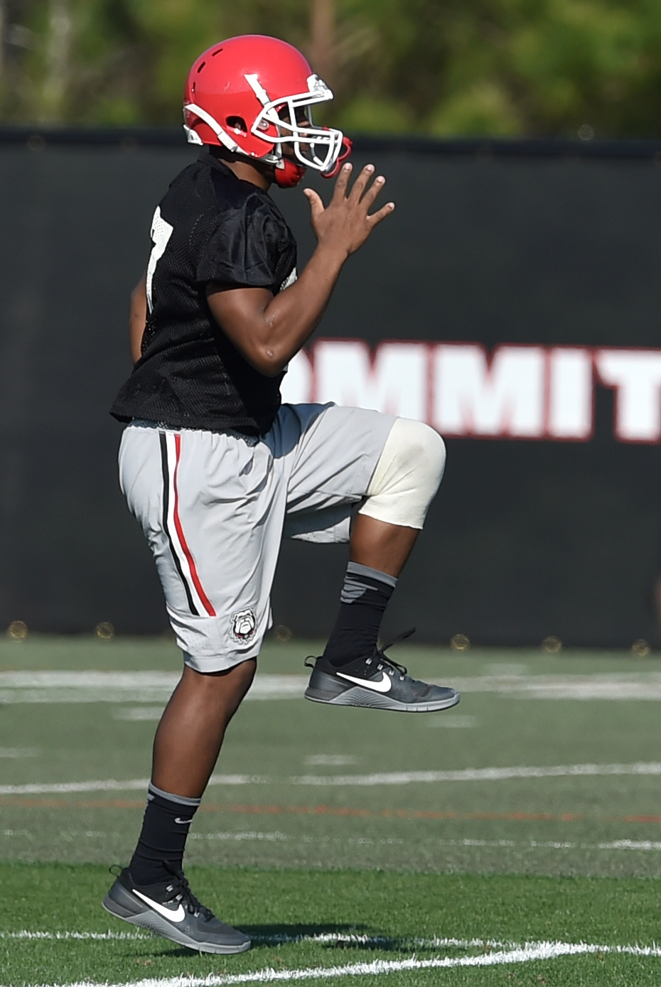 Georgia running back Nick Chubb, returning from a knee injury last season, works out by himself during the first day of spring NCAA college football practice, Tuesday March 15, 2016, in Athens, Ga. (Brant Sanderlin/Atlanta Journal-Constitution via AP)