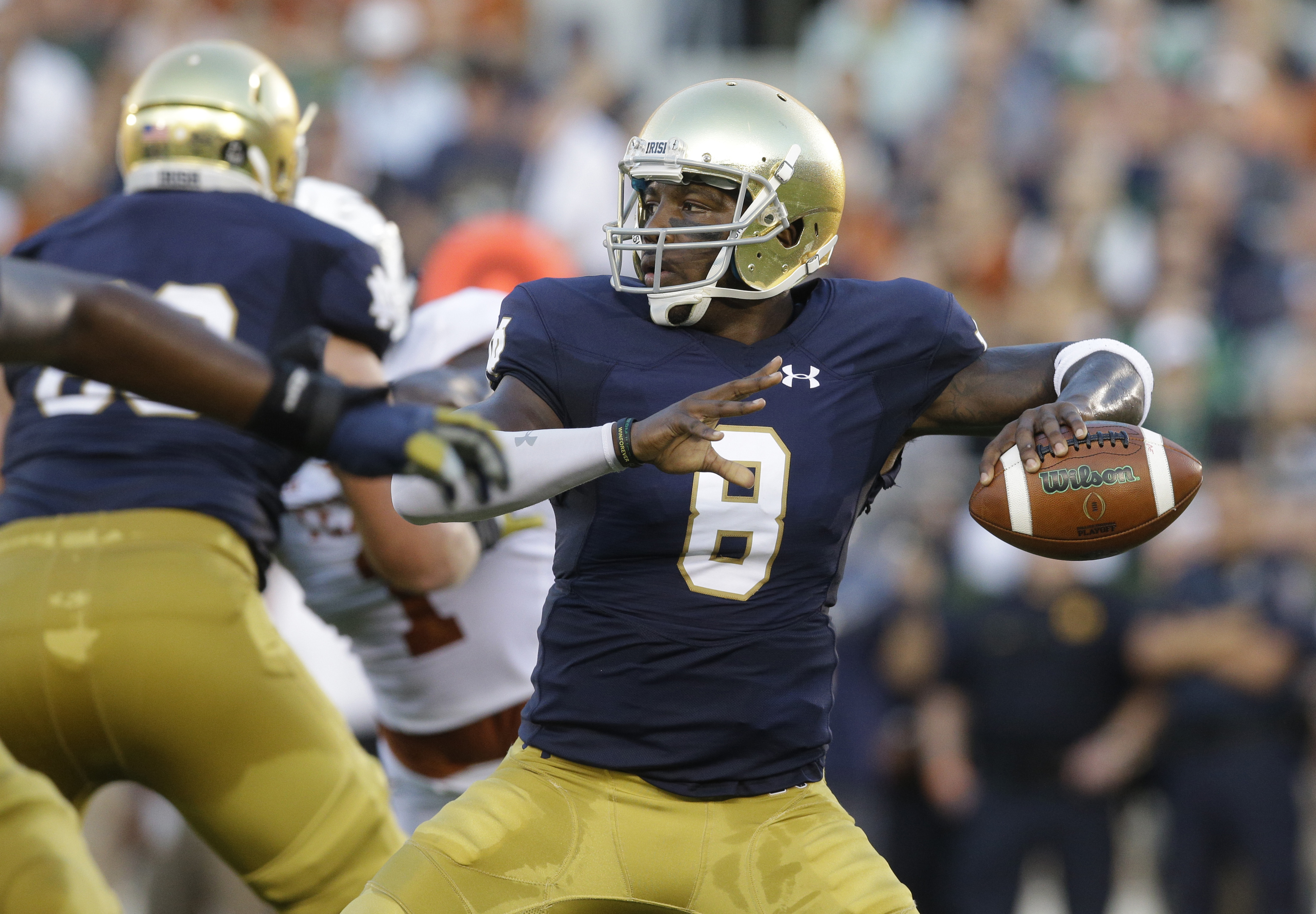 FILE - In this Sept. 5, 2015, file photo, Notre Dame quarterback Malik Zaire looks to a pass during the first half of an NCAA college football game against Texas, in South Bend, Ind. Zaire doesnt try to hide his frustration to be competing for the starter