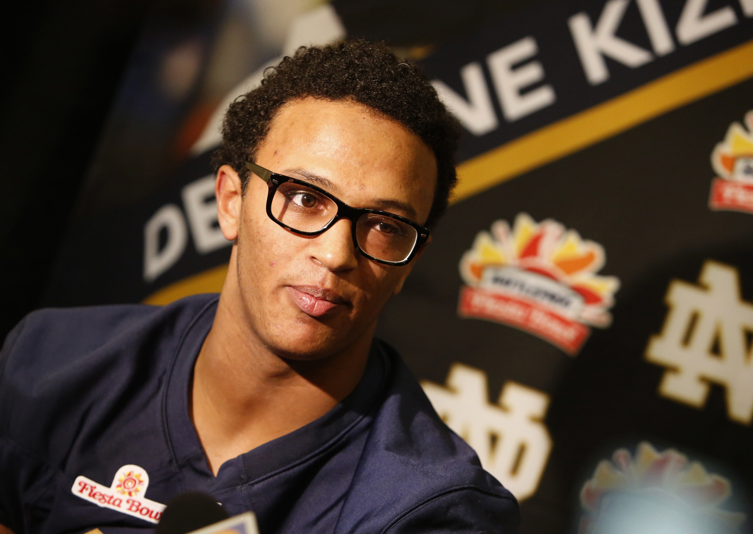 FILE - In this Dec. 30, 2015, file photo, Notre Dame quarterback DeShone Kizer speaks with reporters during media day for the Fiesta Bowl NCAA college football game, in Scottsdale, Ariz. Kizer isnt surprised that after he saved Notre Dames season last fal