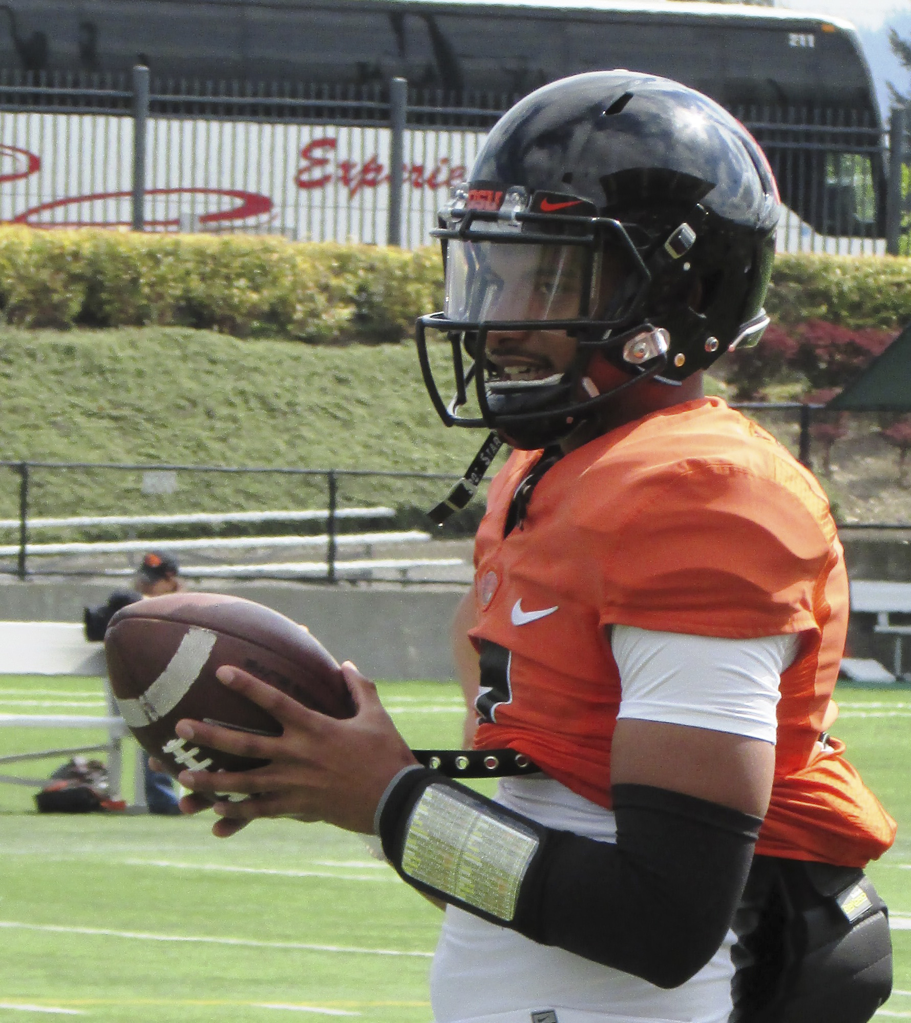 Oregon State quarterback Marcus McMaryion gets ready to pass the ball during the NCAA college football team's scrimmage at Hillsboro Stadium in Hillsboro, Ore., Saturday, April 9, 2016. (AP Photo/Anne M. Peterson)
