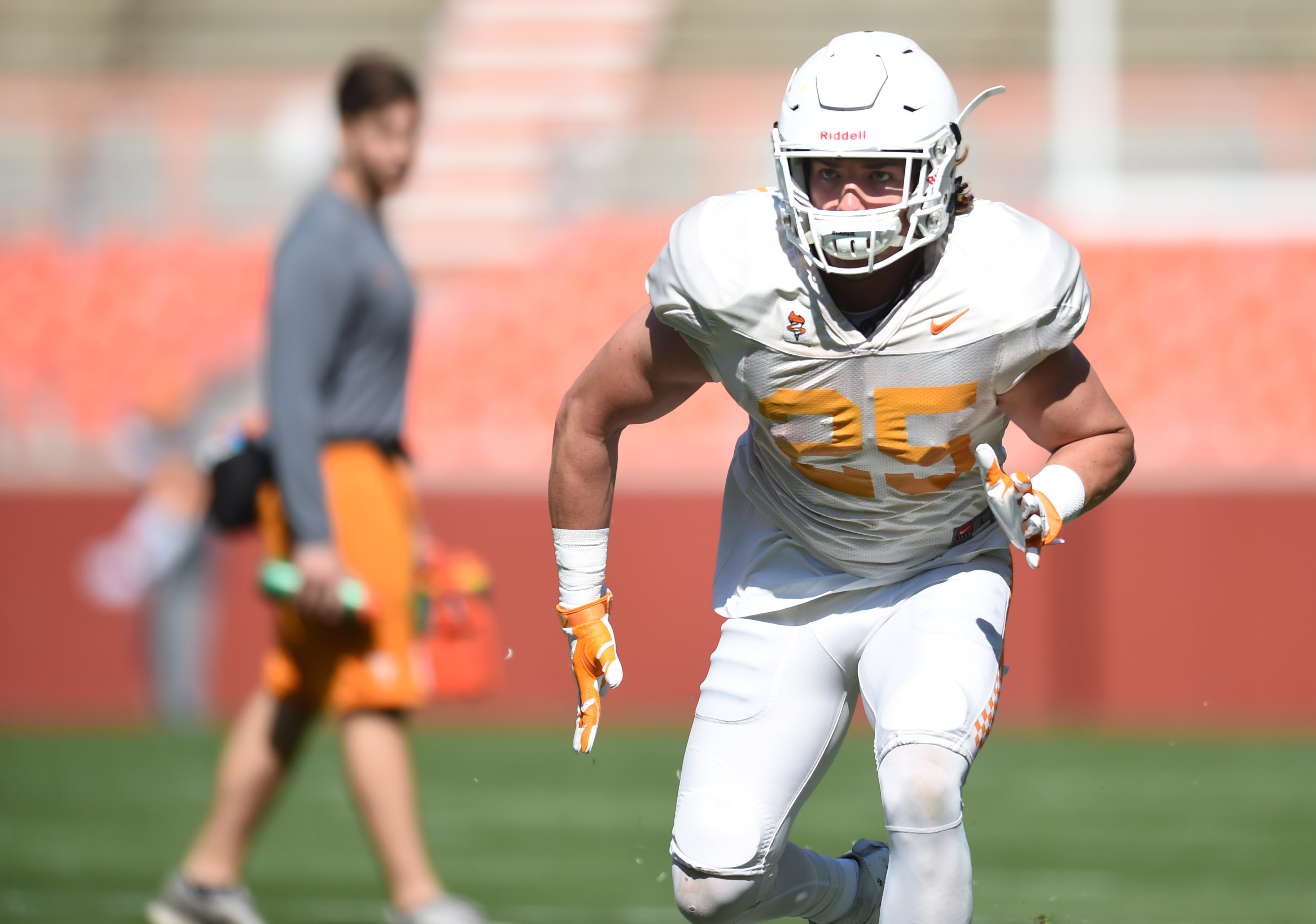 In this March 26, 2016 photo, Tennessee wide receiver Josh Smith takes part in spring practice in Knoxville, Tenn.  Tennessee has a dynamic rushing attack, but its chances of contending for a Southeastern Conference title this fall depend in part on wheth