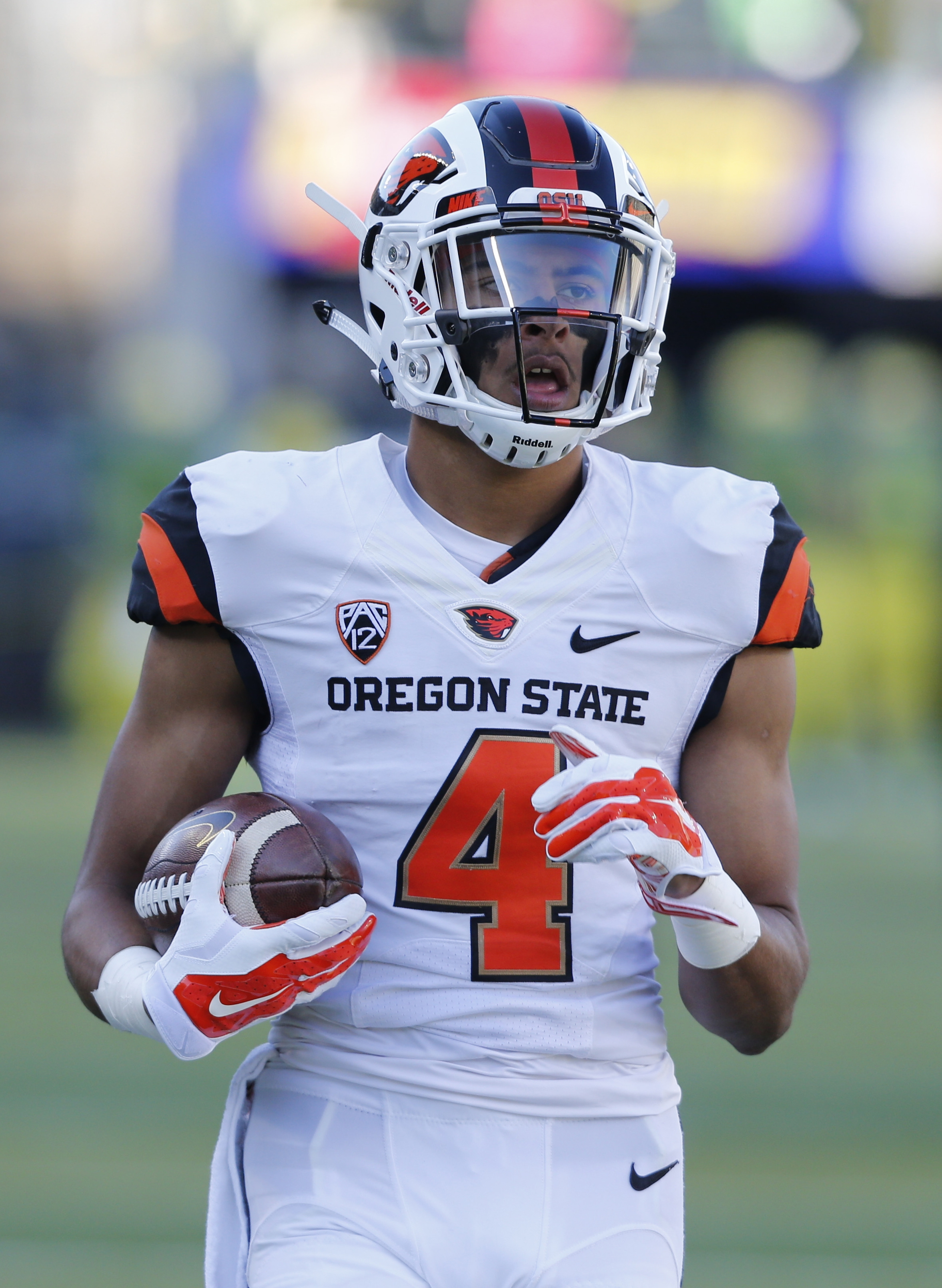 In this Nov. 27, 2015 photo, Oregon State quarterback Seth Collins goes through warmups before of an NCAA college football game in Eugene Ore. Collins have requested a transfer following last season and signed a financial aid agreement with Northern Illin