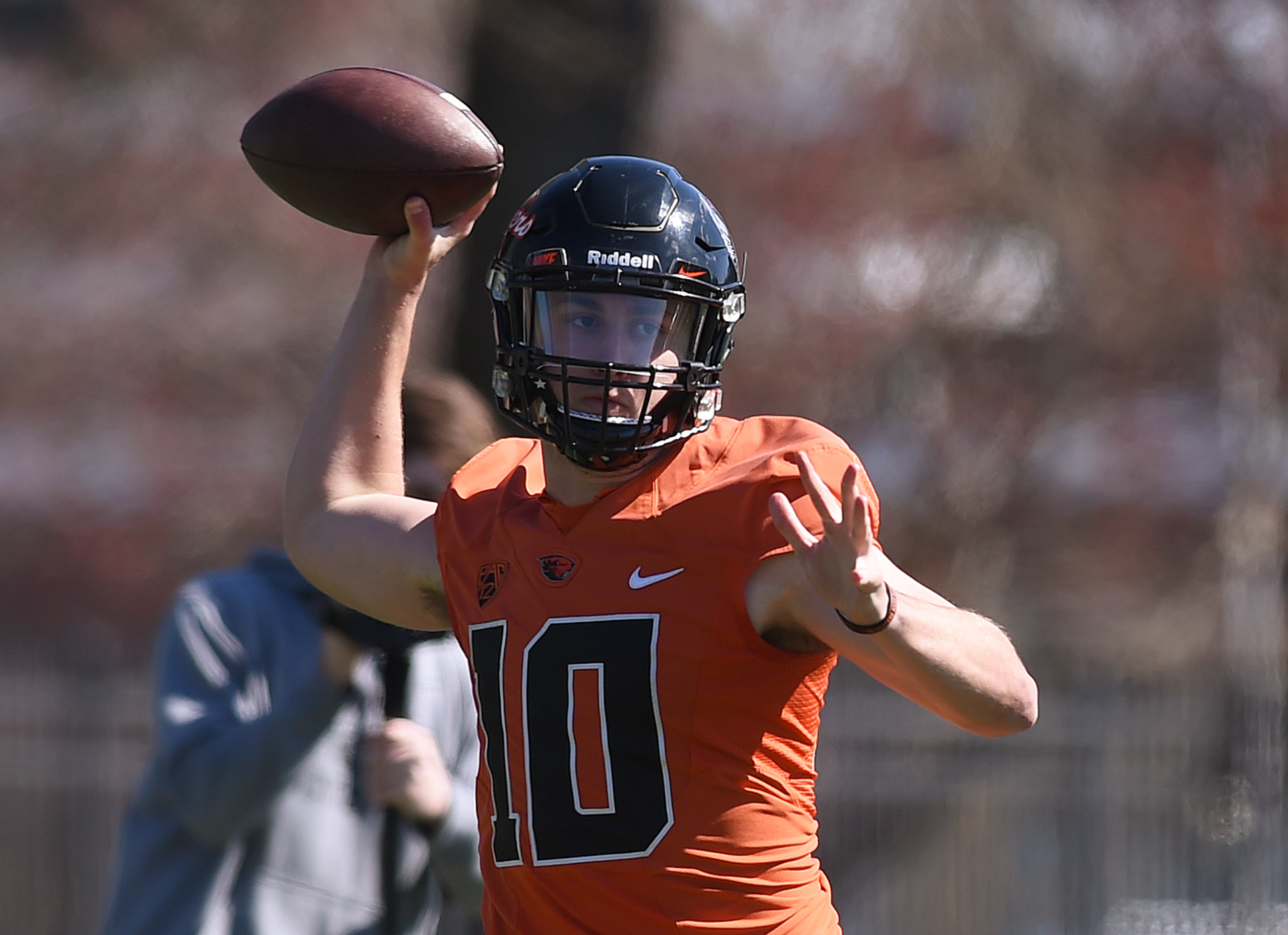 FILE - In this March 29, 2016 file photo, Oregon State Beavers quarterback Darell Garretson (10) throws a pass during spring NCAA college football practice in Corvallis, Ore. Oregon State quarterbacks Garretson, Marcus McMaryion and Mason moran were all o