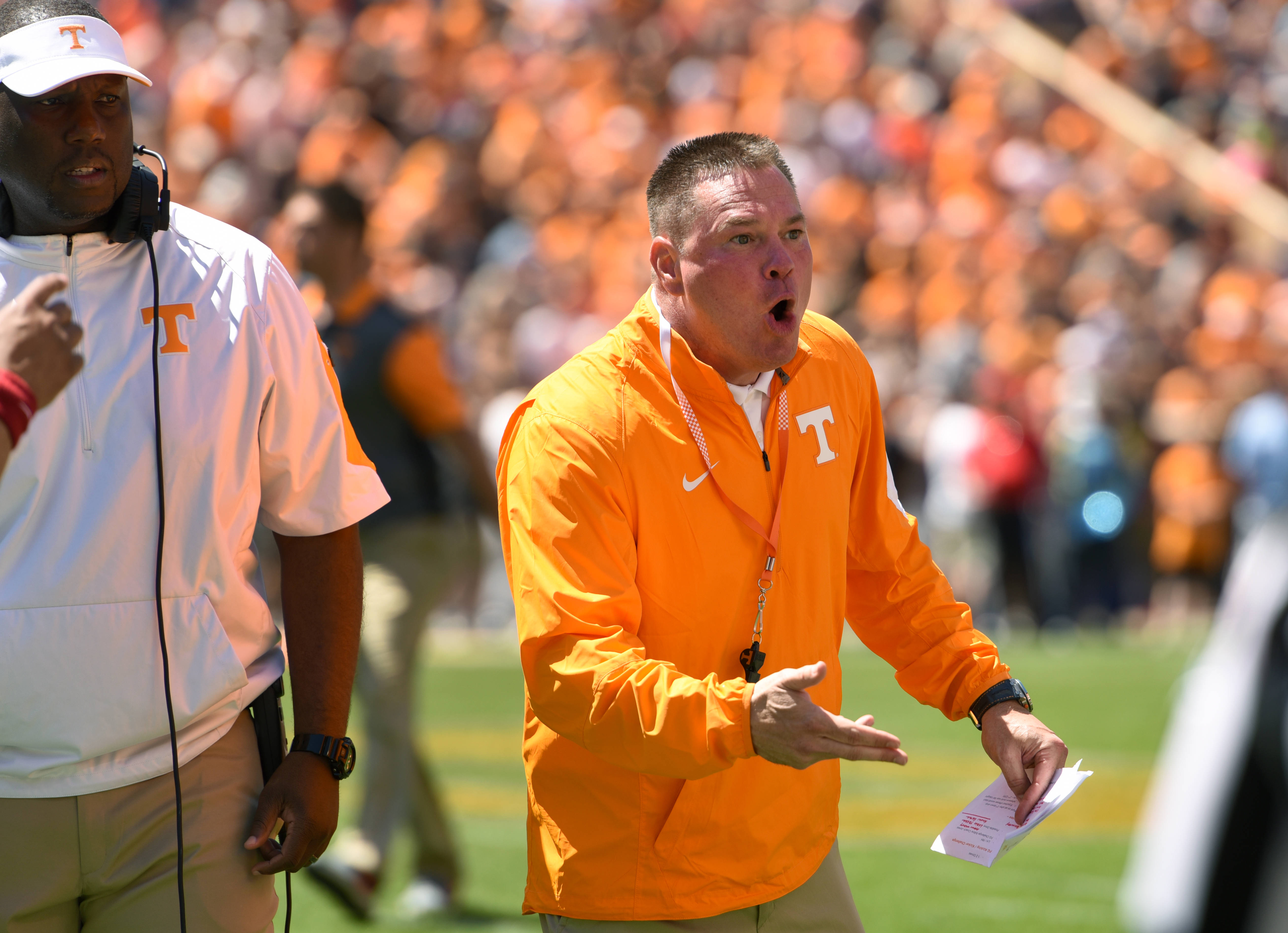Tennessee head football coach Butch Jones instructs his players during an NCAA college football spring game in Knoxville, Tenn., Saturday, April 16, 2016. (Michael Patrick/Knoxville News Sentinel via AP) MANDATORY CREDIT