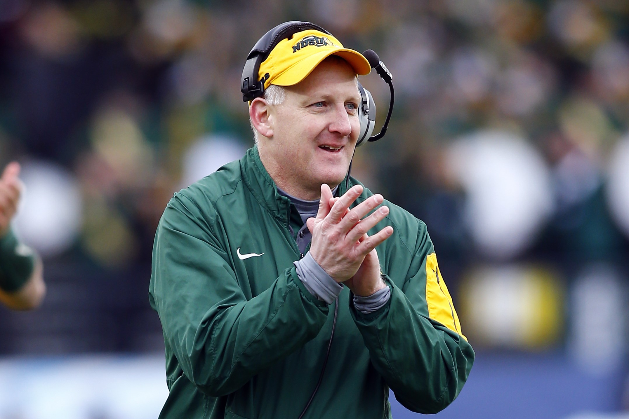 North Dakota State head coach Chris Klieman during the FCS championship NCAA college football game between North Dakota State and Jacksonville State, Saturday, Jan. 9, 2016, in Frisco, Texas.  North Dakota State beat Jacksonville State 37-10 to win their
