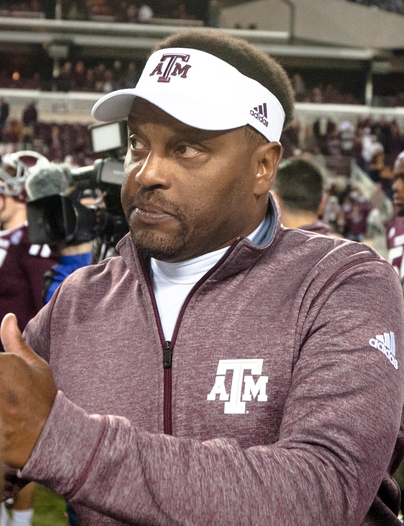Texas A&M's head coach Kevin Sumlin talks to members of the media after an NCAA college football game against Western Carolina, Saturday, Nov. 14, 2015, in College Station, Texas. Texas A&M defeated Western Carolina 41-17. (AP Photo/Juan DeLeon)