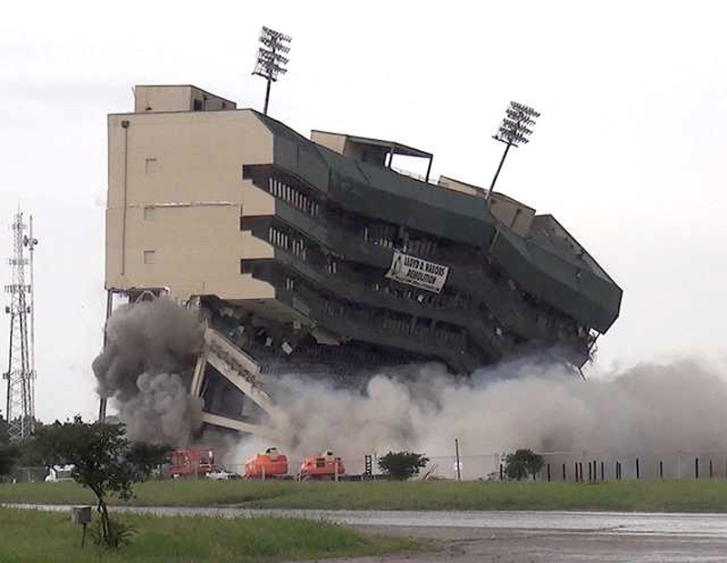 Floyd Casey Stadium is demolished Saturday, May 14, 2016, in Waco, Texas. Explosives brought down what was left of the former longtime home of Baylor football. (Chris Oliver/Waco Tribune-Herald via AP) MANDATORY CREDIT