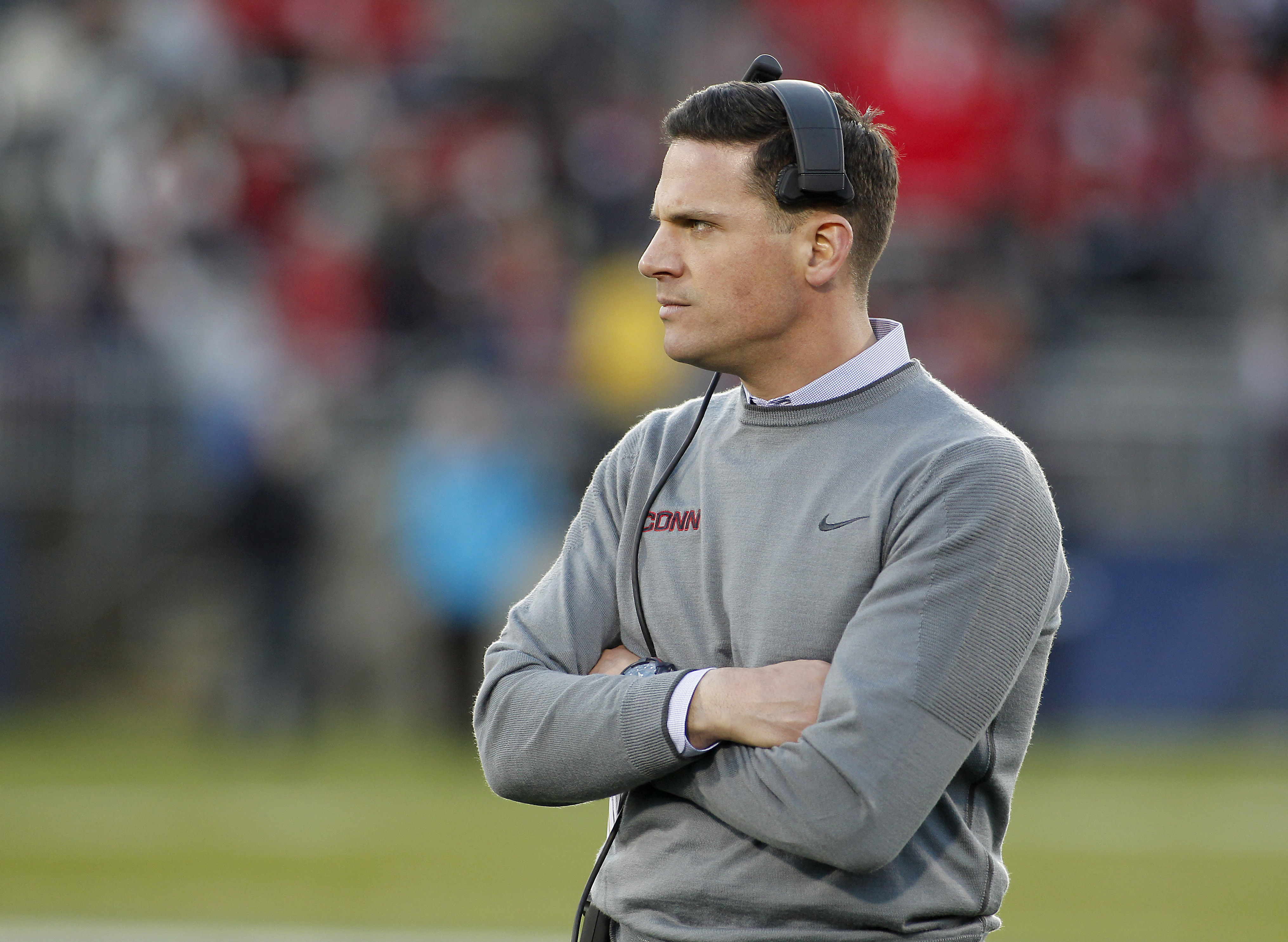 FILE - This Nov. 21, 2015 photo shows Connecticut head coach Bob Diaco during the first quarter of an NCAA college football game against Houston in East Hartford, Conn. Diaco has agreed to a two-year contract extension designed to keep him in Storrs throu