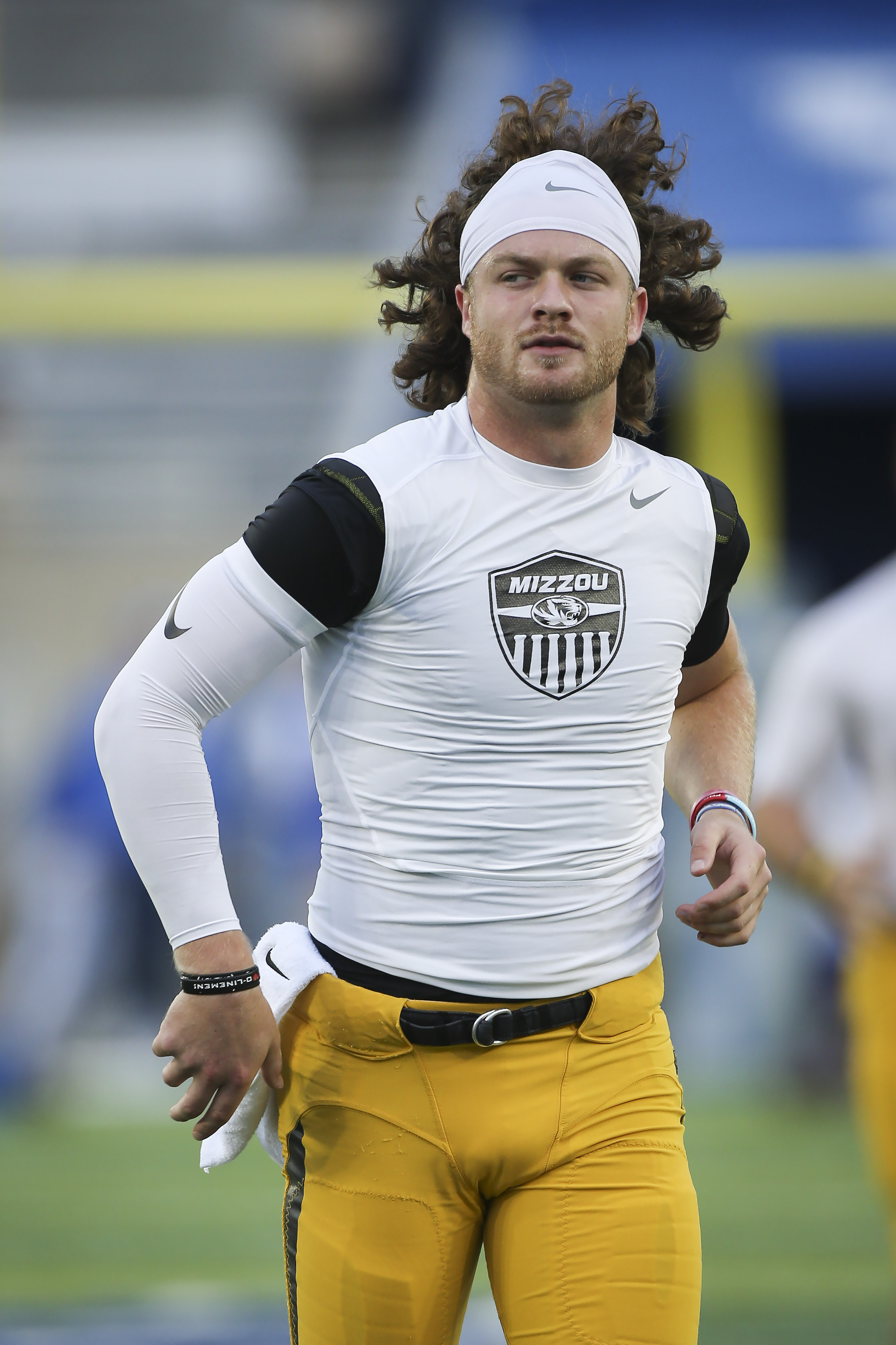 FILE - In this Sept. 26, 2015, file photo, Missouri quarterback Maty Mauk warms up before an NCAA college football game against Kentucky,  in Lexington, Ky. Missouri has dismissed quarterback Maty Mauk from the program after a series of missteps. New coac