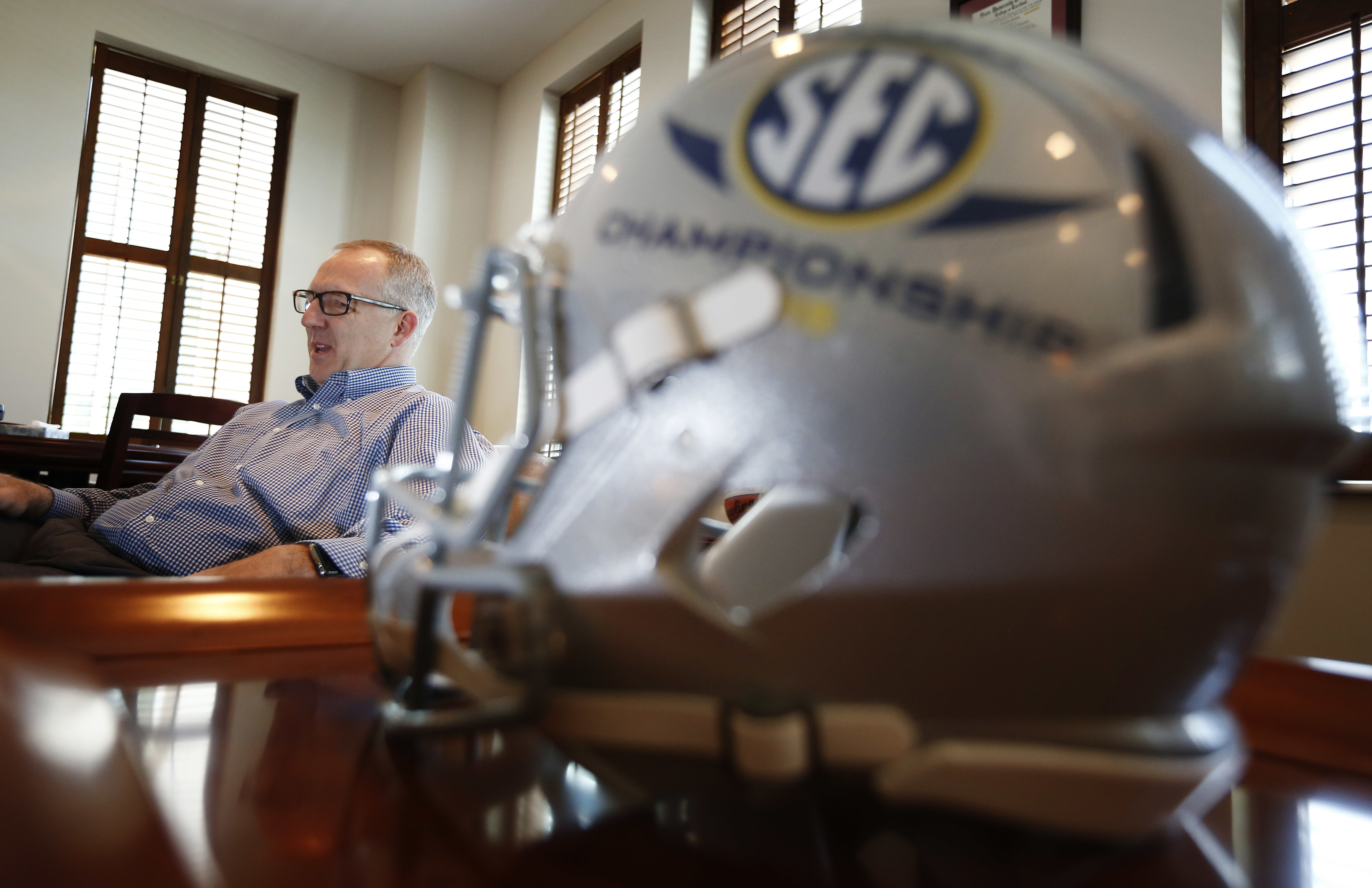 Southeastern Conference commissioner, Greg Sankey, speaks during an interview with The Associated Press, Monday, May 23, 2016, in Birmingham, Ala. (AP Photo/Brynn Anderson)