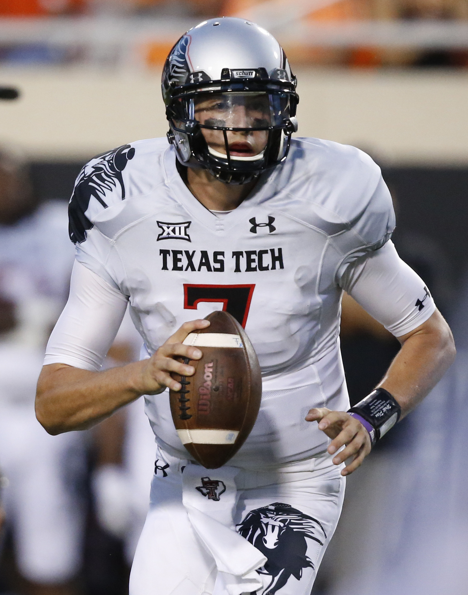 Texas Tech quarterback Davis Webb (7) is pictured during an NCAA college football game between Texas Tech and Oklahoma State in Stillwater, Okla., Thursday, Sept. 25, 2014. (AP Photo/Sue Ogrocki)