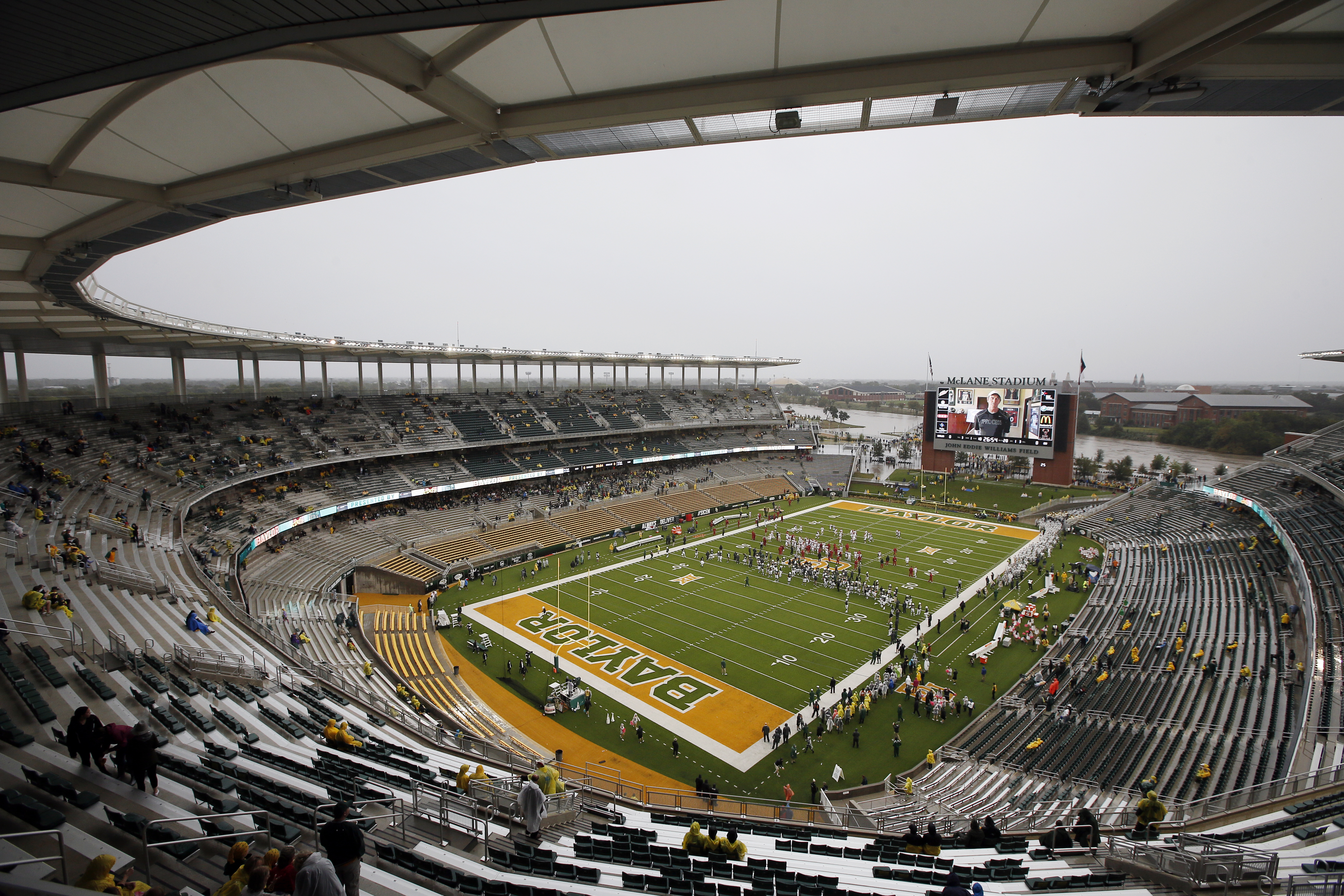 FILE - In this Oct. 24, 2015, file photo, a nearly empty McLane Stadium is seen minutes before kickoff between Iowa State and Baylor in an NCAA college football game, in Waco, Texas. Baylor University will look to rebuild its reputation and perhaps its fo