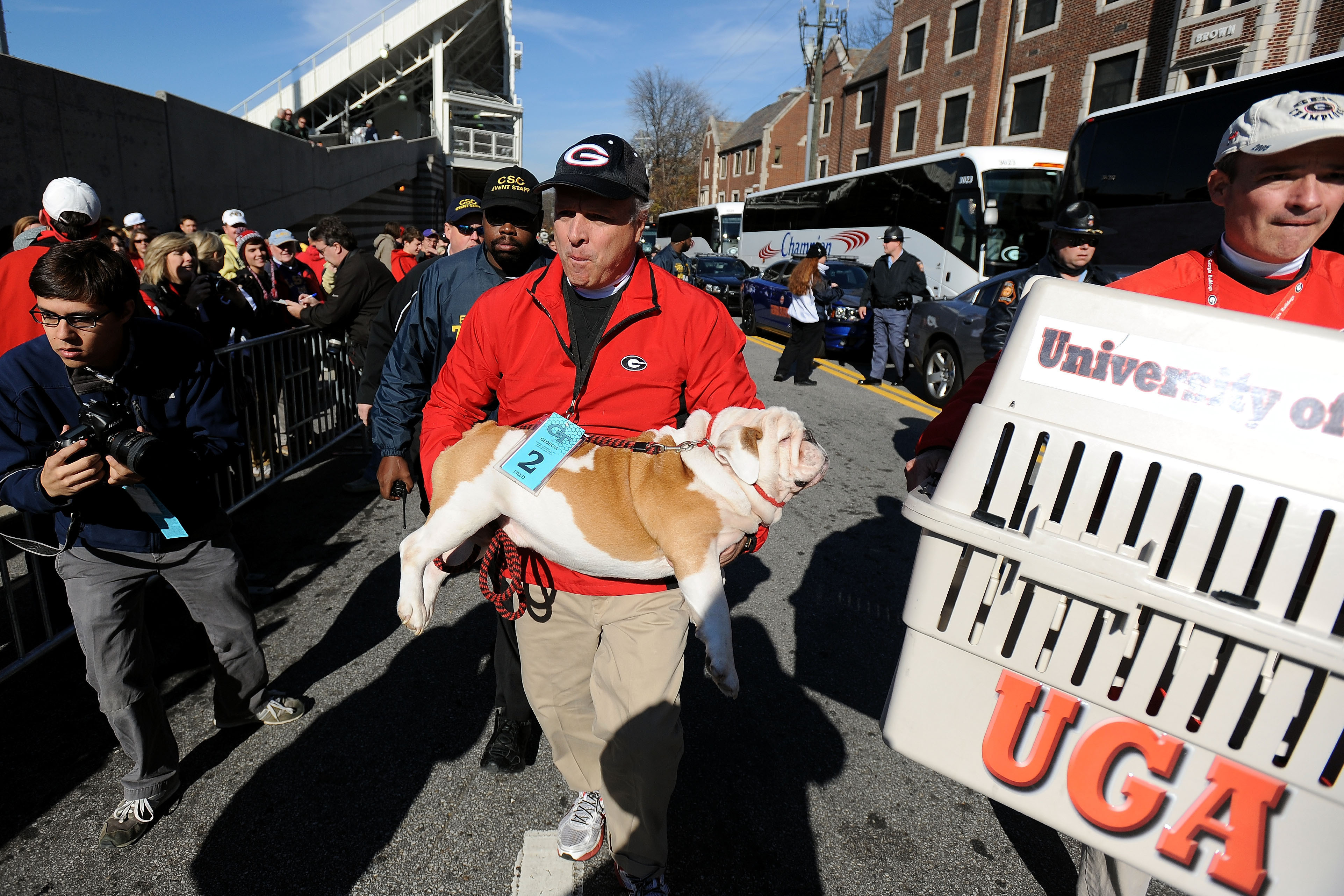 FILE - In this Nov. 30, 2014 file photo, Georgia's mascot Uga IX is carried into Bobby Dodd Stadium by handler Charles Seiler during the traditional Dawg Walk before an NCAA football game in Atlanta.  Uga X comes from the same bloodline as the nine white
