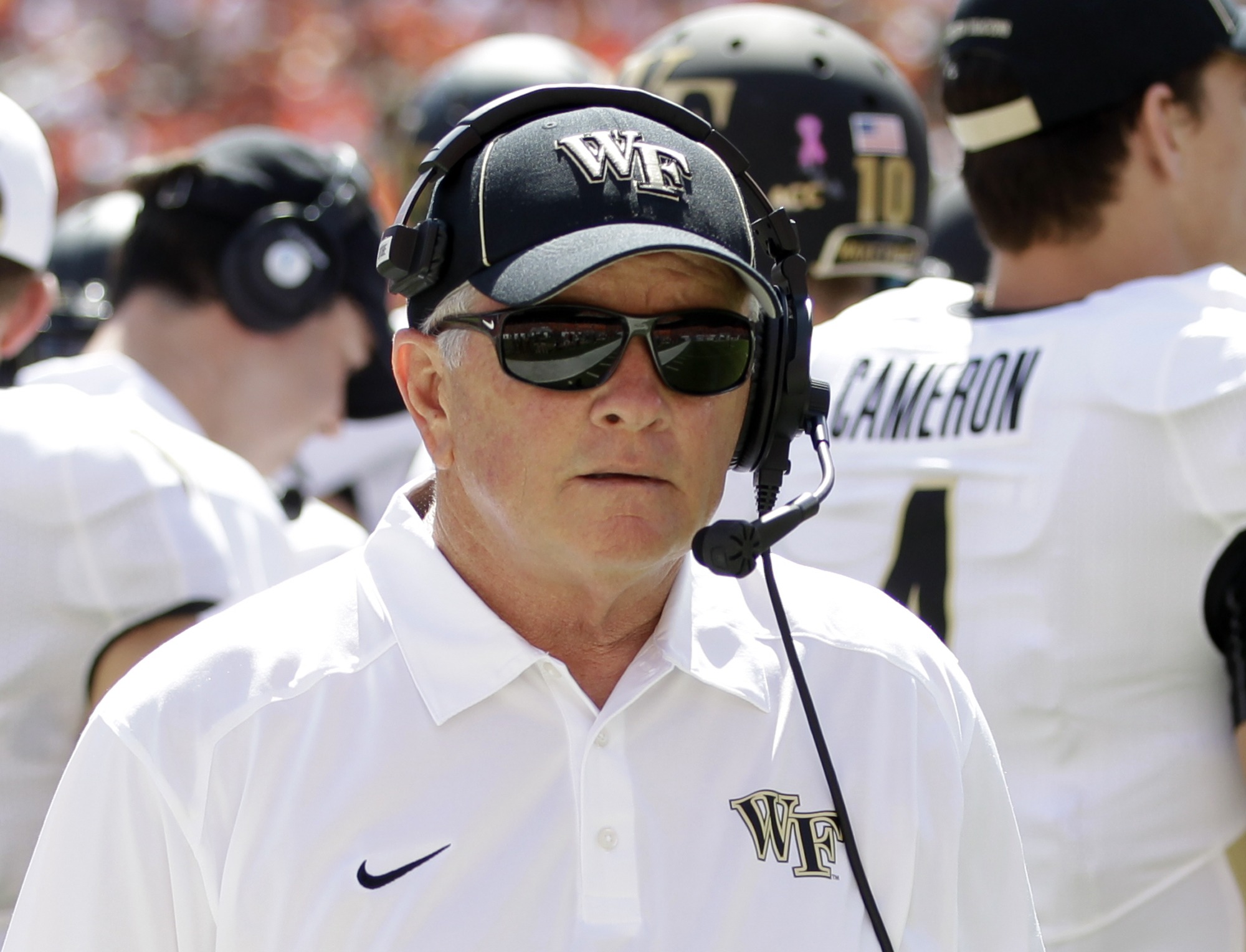 Wake Forest head coach Jim Grobe is shown  during an NCAA college football game against Miami, Saturday, Oct. 26, 2013, in Miami Gardens, Fla. Miami won 24-21. (AP Photo/Alan Diaz)