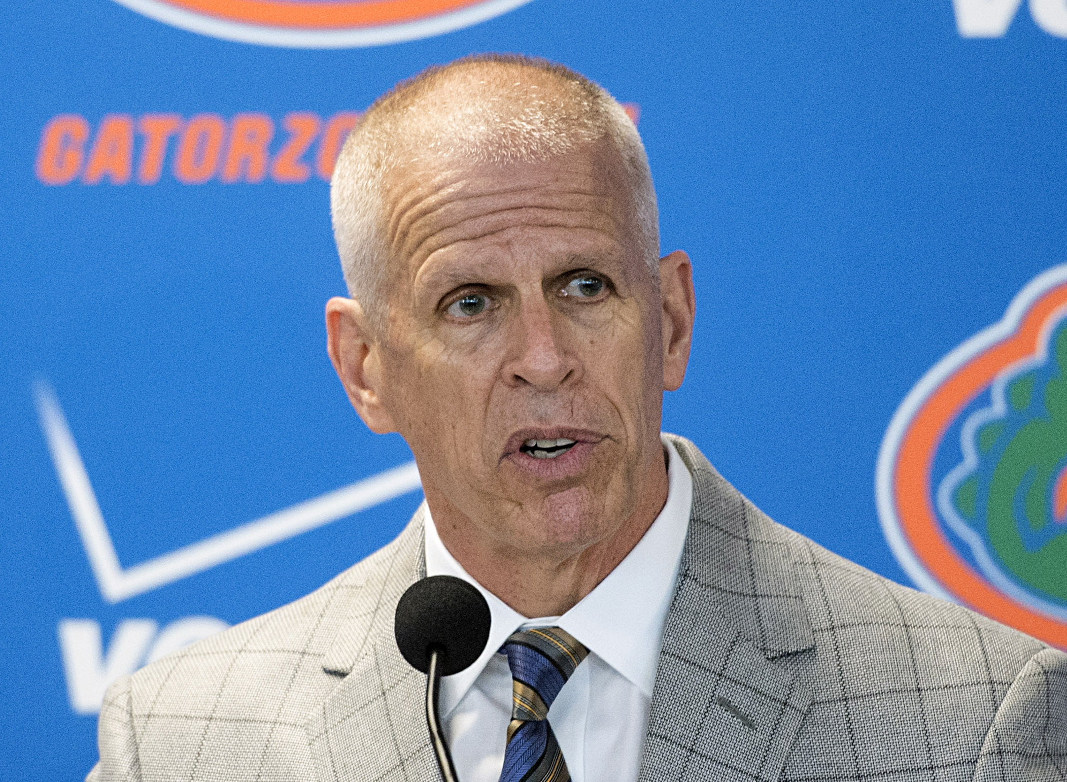 FILE - In this Dec. 6, 2014, file photo, Florida athletic director Jeremy Foley speaks to the media during a press conference in Gainesville, Fla. Foley, one of the most successful college sports leaders in the country the last 25 years, is retiring. The
