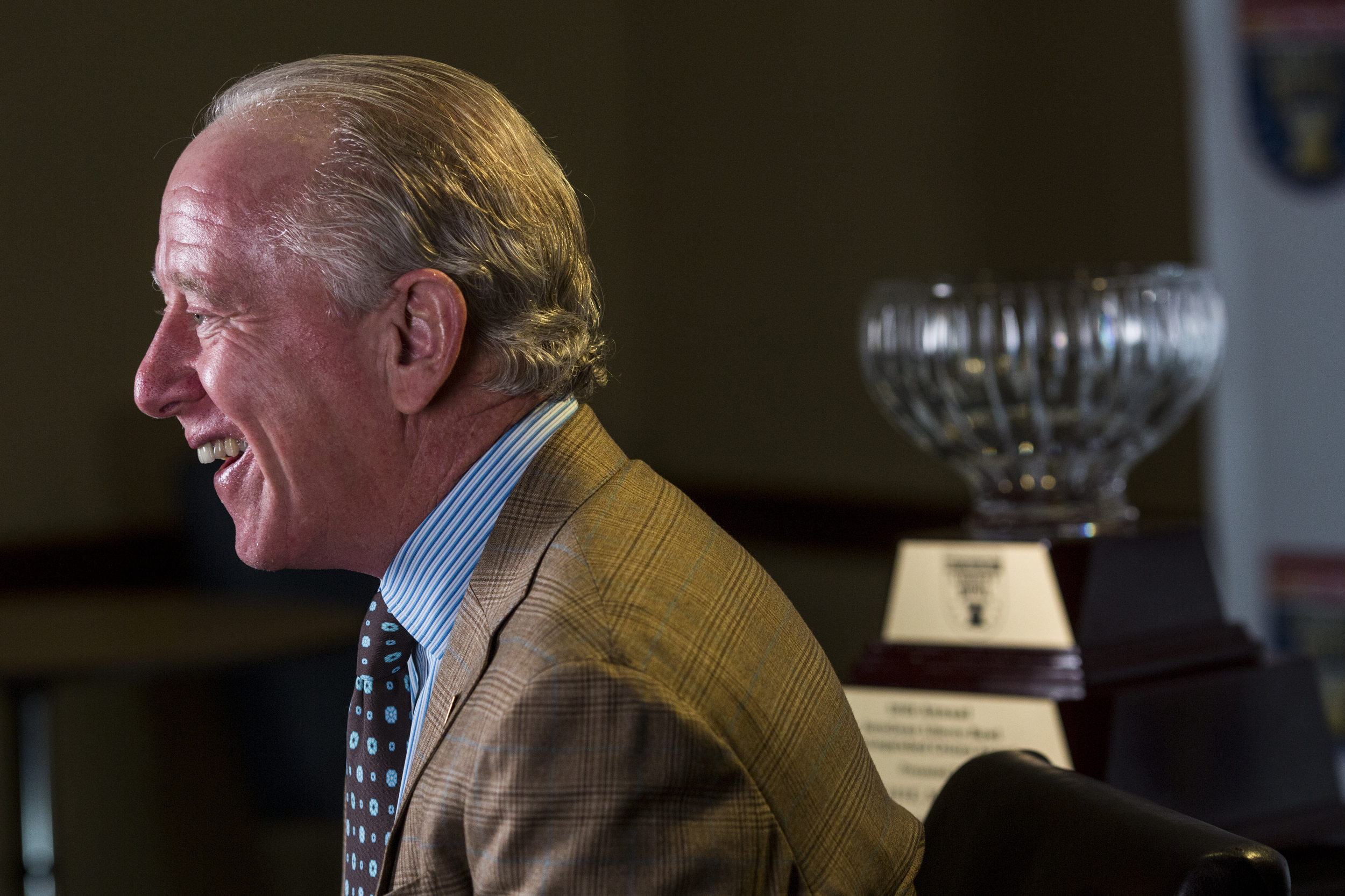Archie Manning laughs before the start of an interview about Manning being awarded the 2016 Distinguished Citizen Award from the AutoZone Liberty Bowl, while in Memphis, Tenn., Sunday, June 19, 2016. Manning was a quarterback at Mississippi, in the Colleg