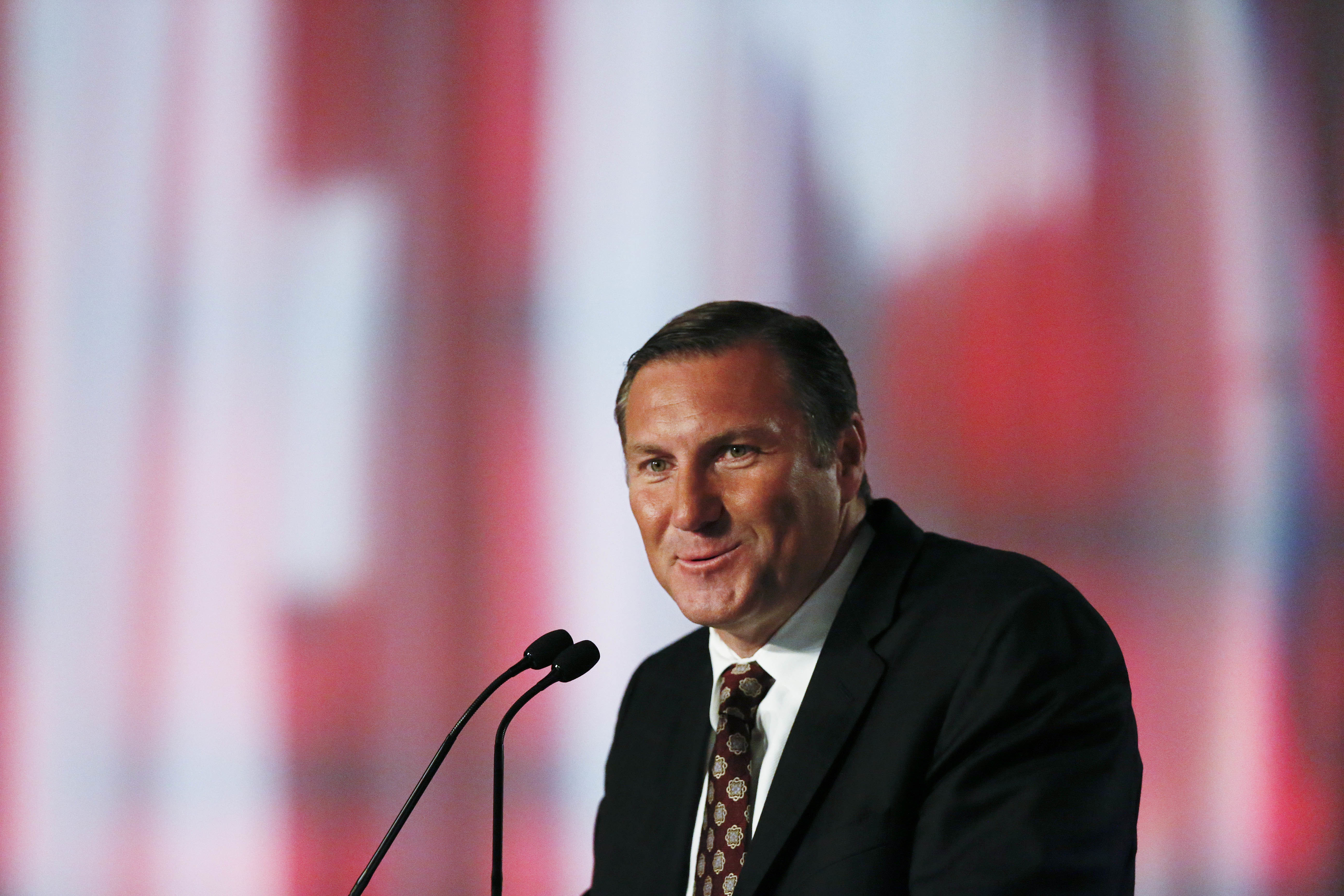 Mississippi State coach Dan Mullen speaks to the media at the Southeastern Conference NCAA college football media days, Tuesday, July 12, 2016, in Hoover, Ala. (AP Photo/Brynn Anderson)