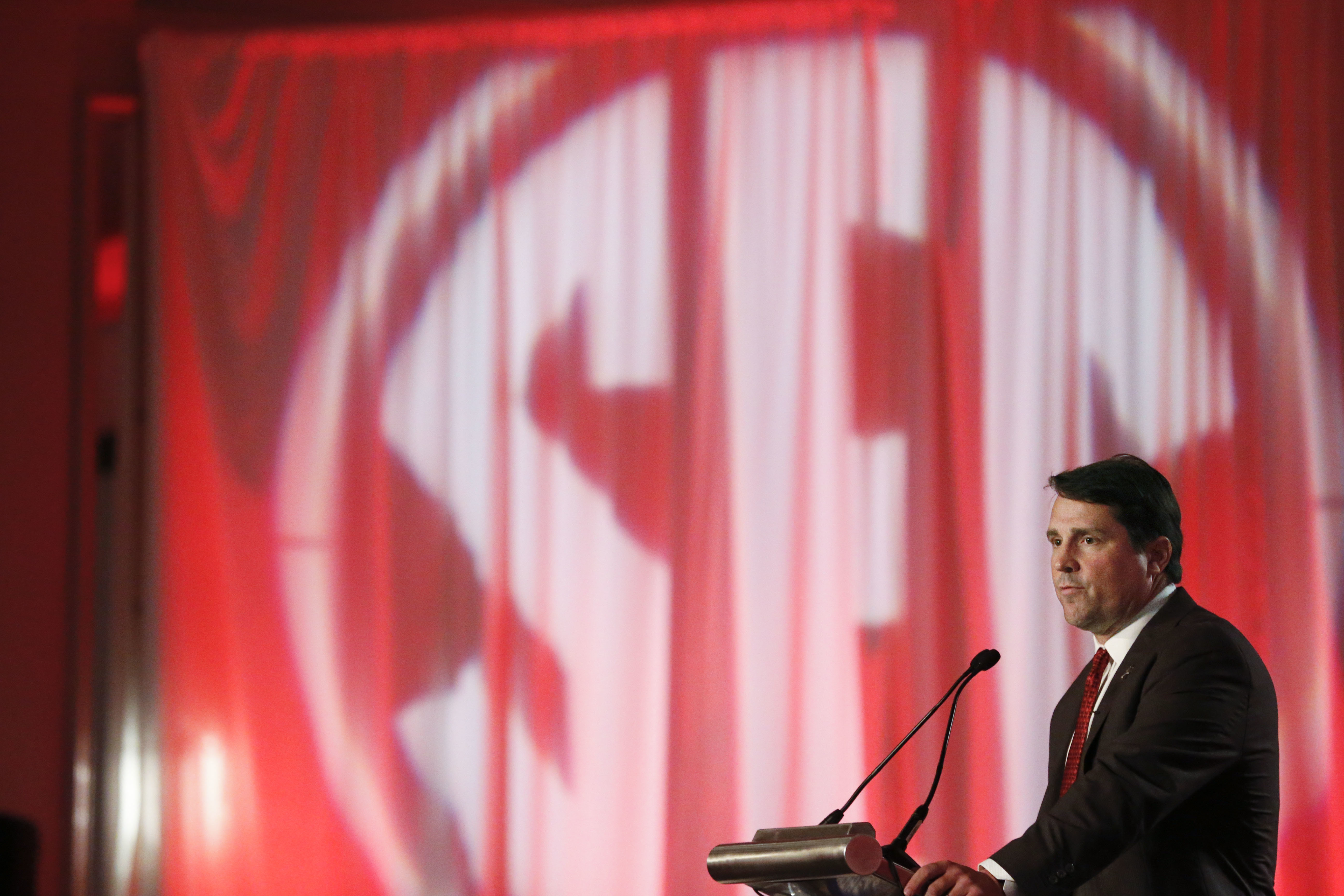 South Carolina coach Will Muschamp speaks to the media at the Southeastern Conference NCAA college football media days, Thursday, July 14, 2016, in Hoover, Ala. (AP Photo/Brynn Anderson)