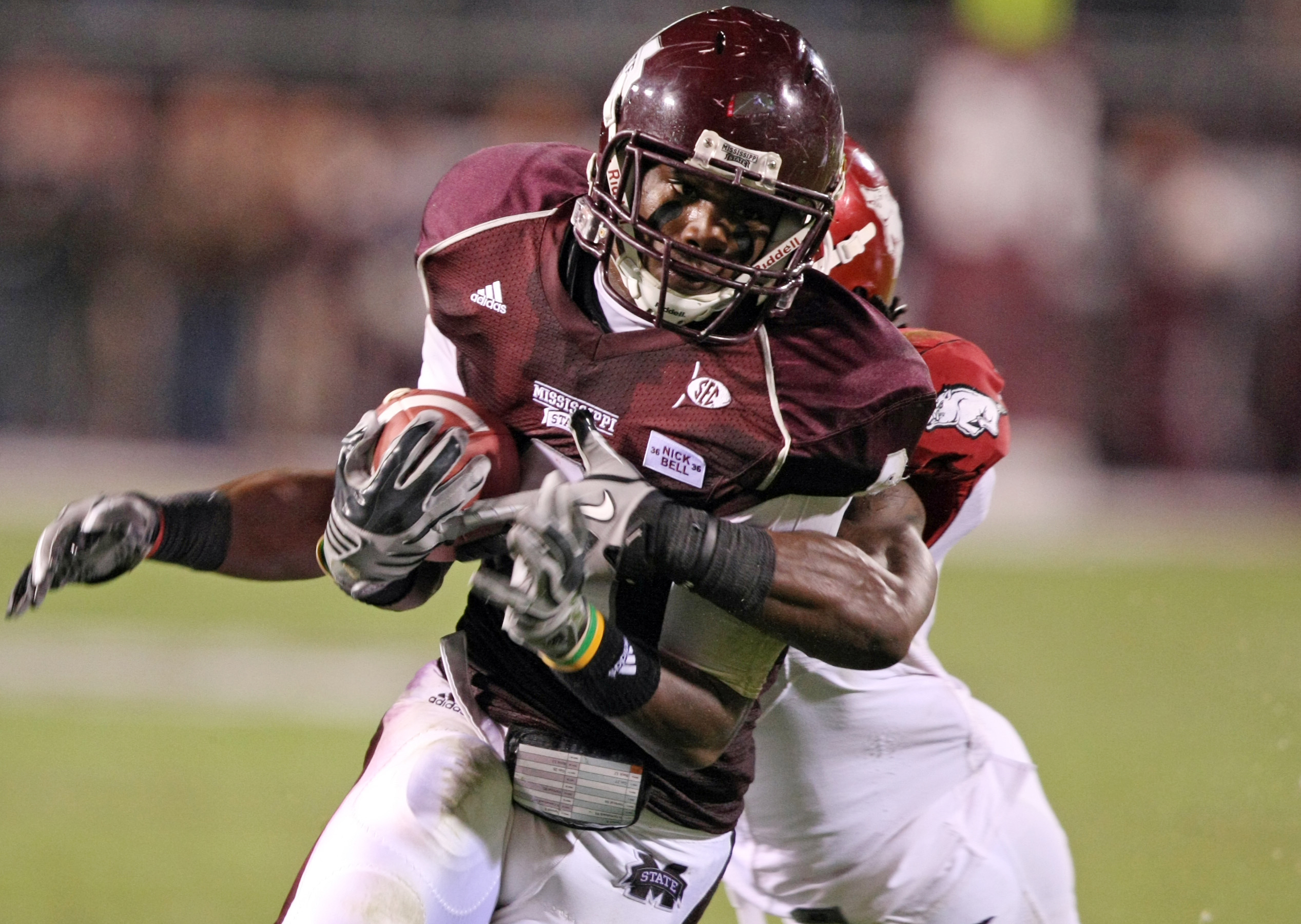 FILE - In this Nov. 20, 2010, file photo, Mississippi State wide receiver Chris Smith (8) completes a reception during the second quarter of an NCAA college football game against Arkansas in Starkville, Miss. Smith, a former Mississippi State University p