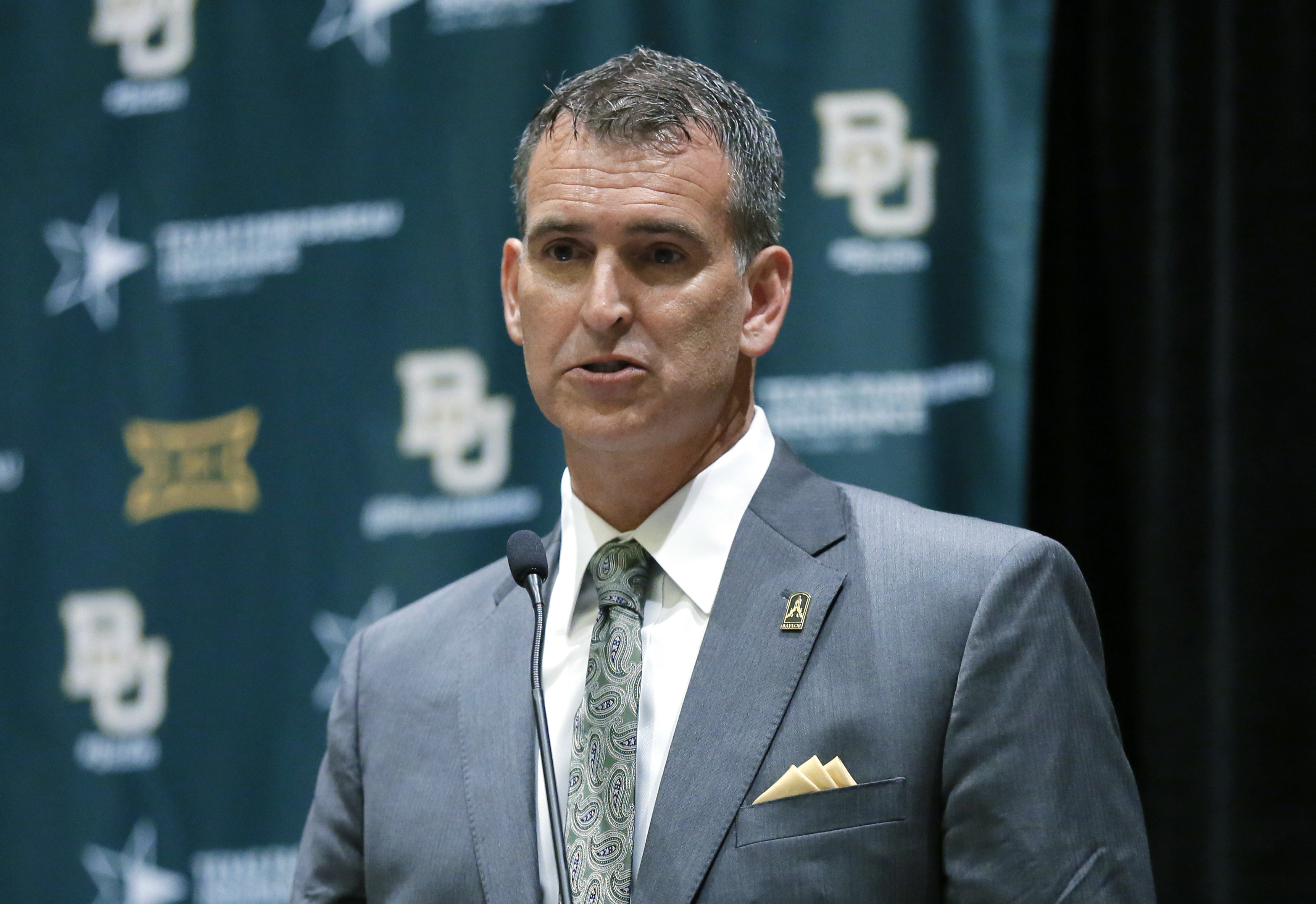 Baylor athetlic director Mack Rhoades, responds to questions during a news conference at Big 12 media days, Monday, July 18, 2016, in Dallas. (AP Photo/Tony Gutierrez)