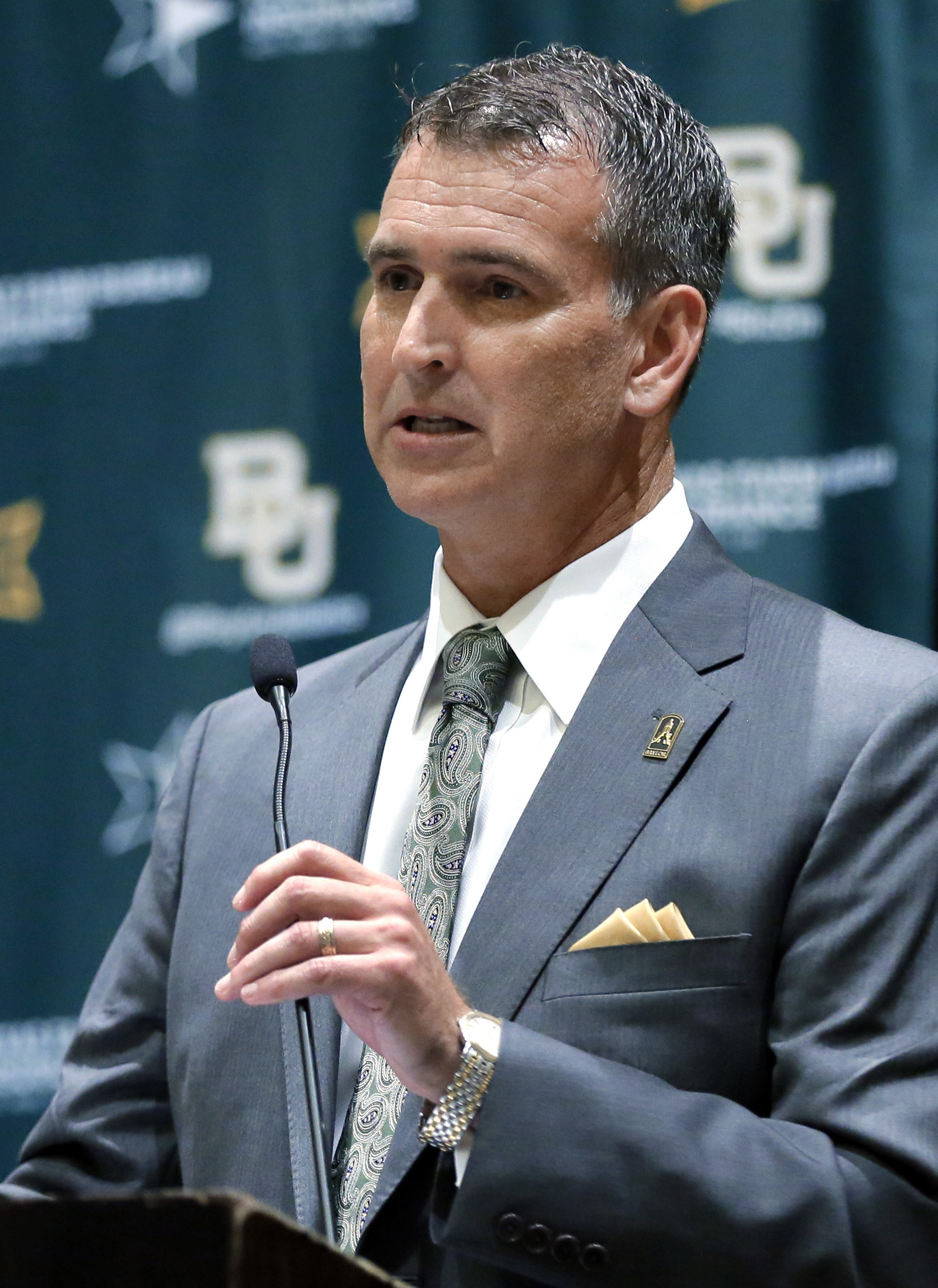 Baylor athletic director Mack Rhoades, responds to questions during a news conference at Big 12 media days, Monday, July 18, 2016, in Dallas. (AP Photo/Tony Gutierrez)