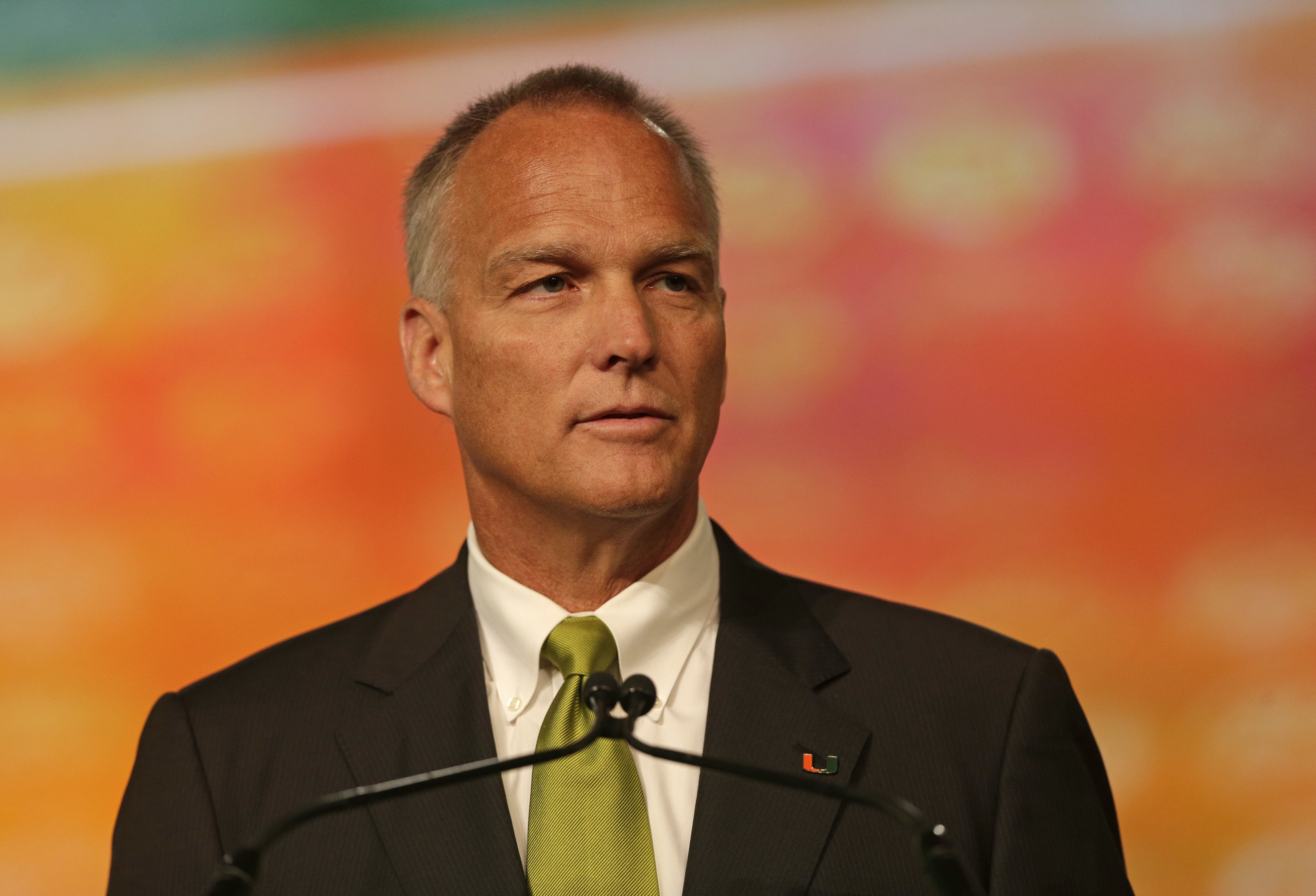 Miami head coach Mark Richt speaks during a news conference at the Atlantic Coast Conference Football Kickoff in Charlotte, N.C., Thursday, July 21, 2016. (AP Photo/Chuck Burton)