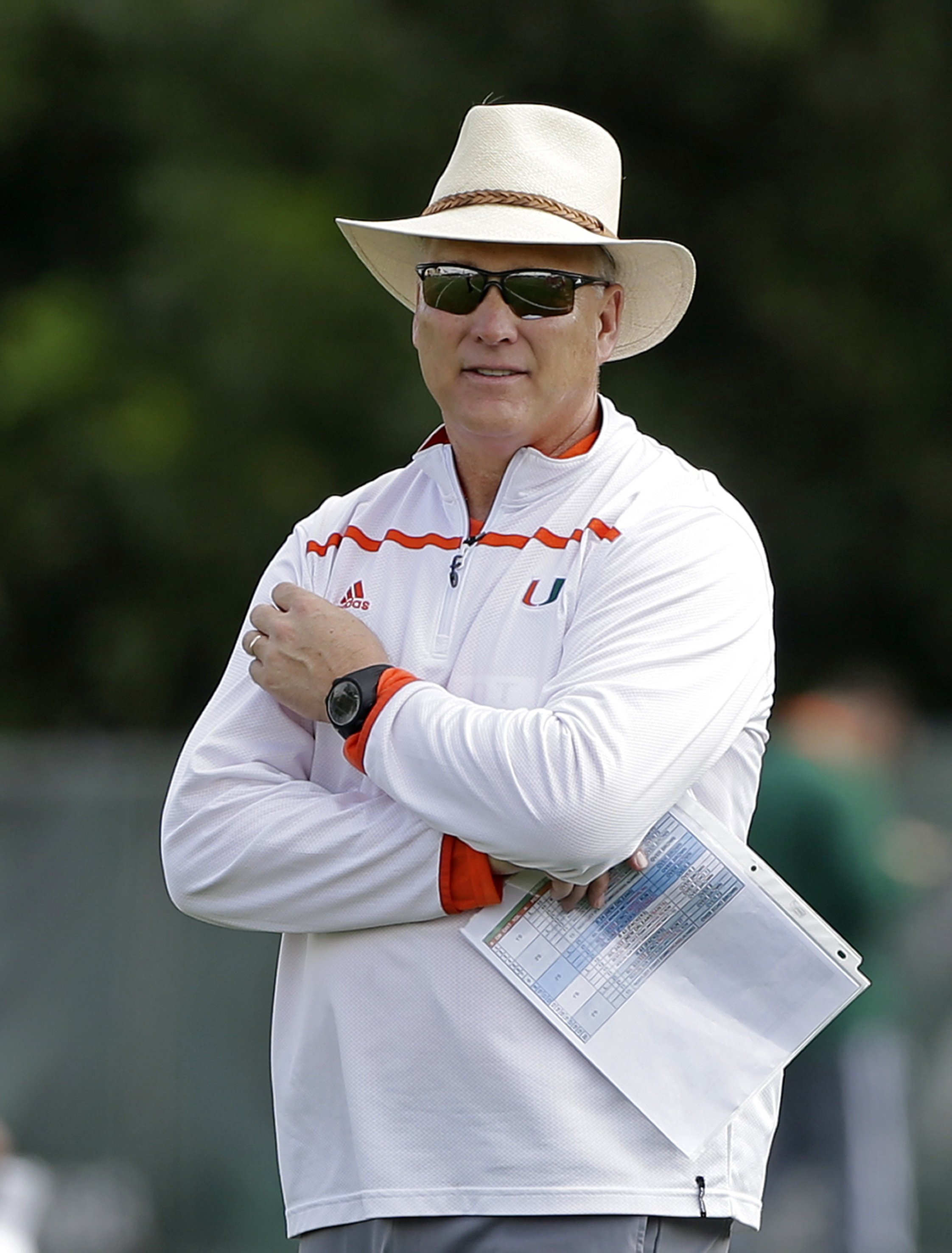FILE - In this March 15, 2016, file photo, Miami head coach Mark Richt watches his players during spring NCAA college football practice in Coral Gables, Fla. As he finishes up preparations for his first training camp as coach of the Hurricanes, Richt is s