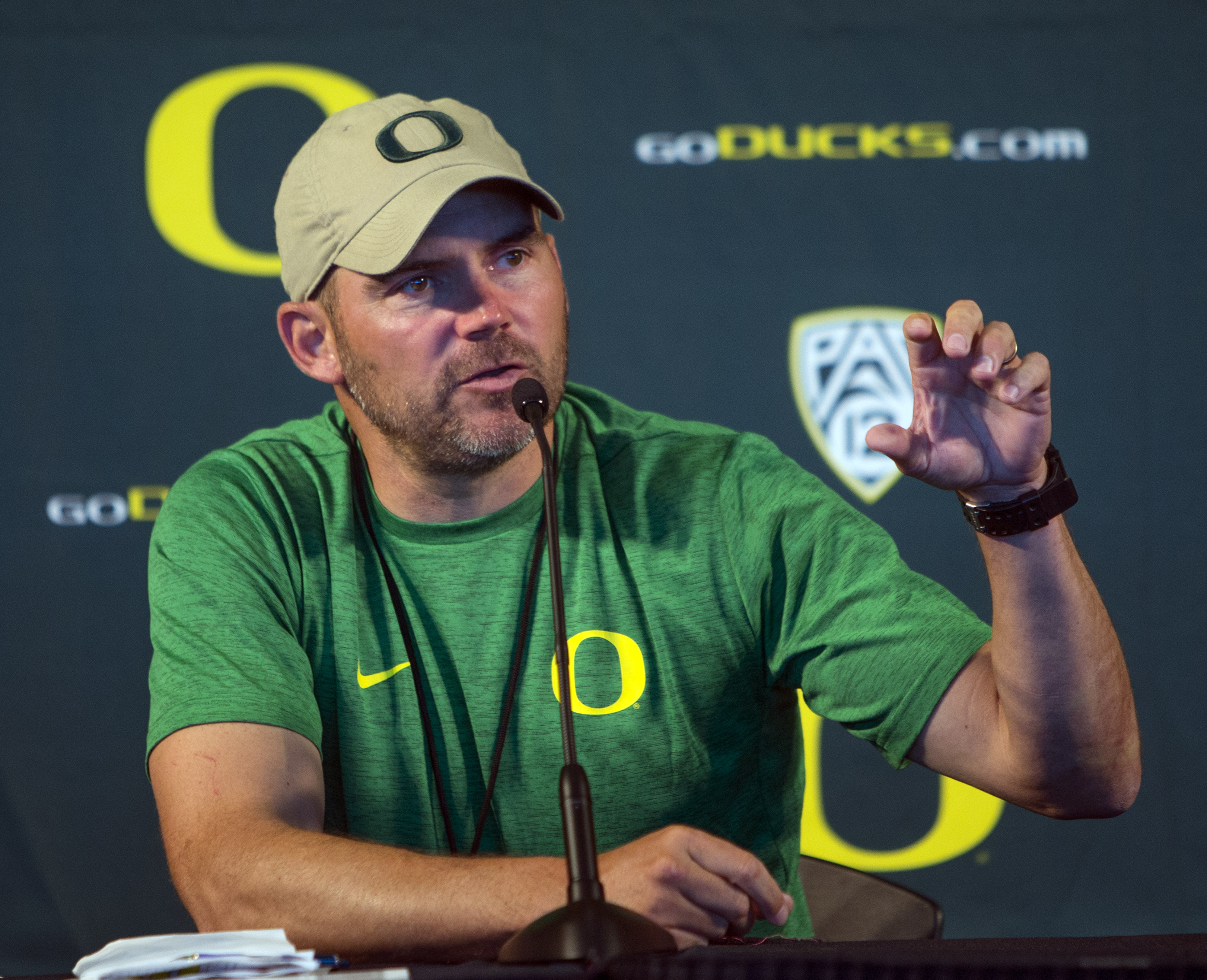Oregon head coach Mark Helfrich answers questions from members of the media during Oregon NCAA football media day at Autzen Stadium in Eugene, Ore., Monday, Aug. 8, 2016. Helfrich's team enters the season ranked 22nd in the Associated Press college footba