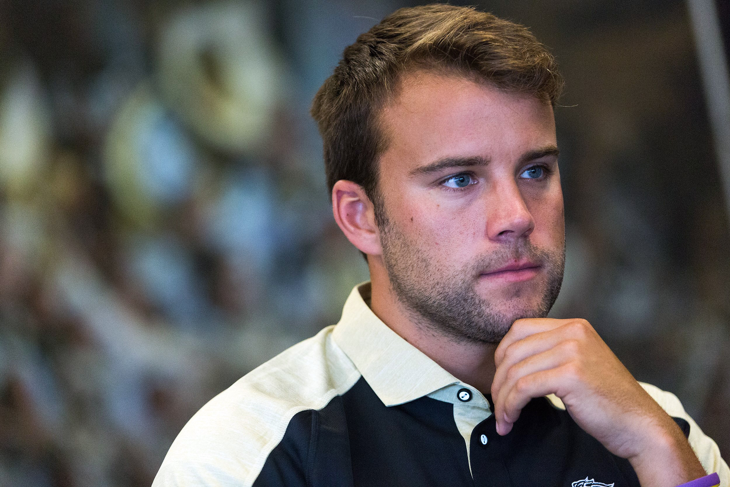 In this Sunday, Aug. 7, 2016 photo, Western Michigan quarterback Zach Terrell listens during NCAA college football media day at Seelye Athletic Center in Kalamazoo, Mich.(Bryan Bennett/Kalamazoo Gazette-MLive Media Group via AP)