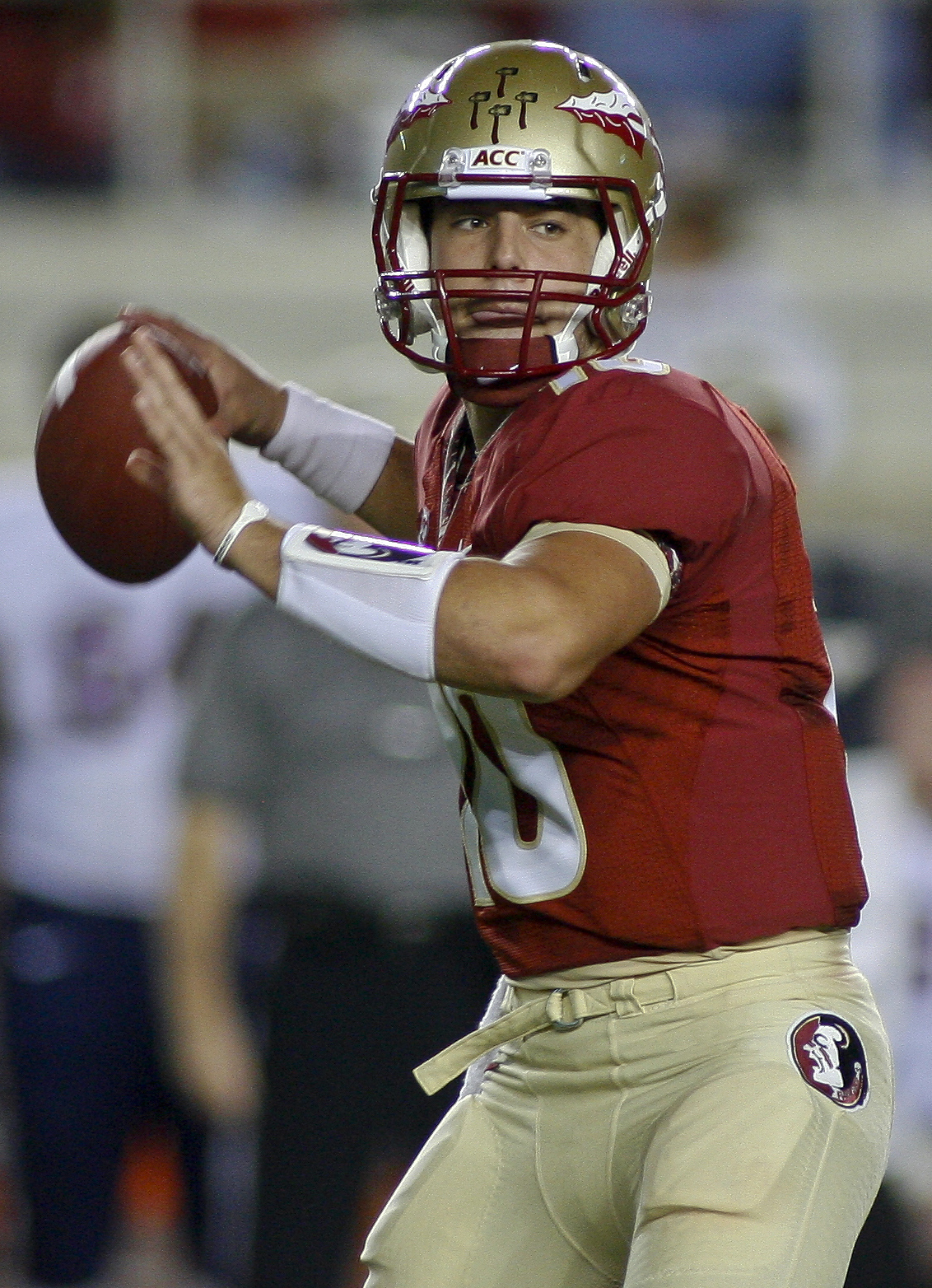 FILE - In this Nov. 16, 2013, file photo, Florida State quarterback Sean Maguire throws a pass during the fourth quarter of an NCAA college football game against Syracuse in Tallahassee, Fla. With 17 starters returning, the spotlight was already on Florid