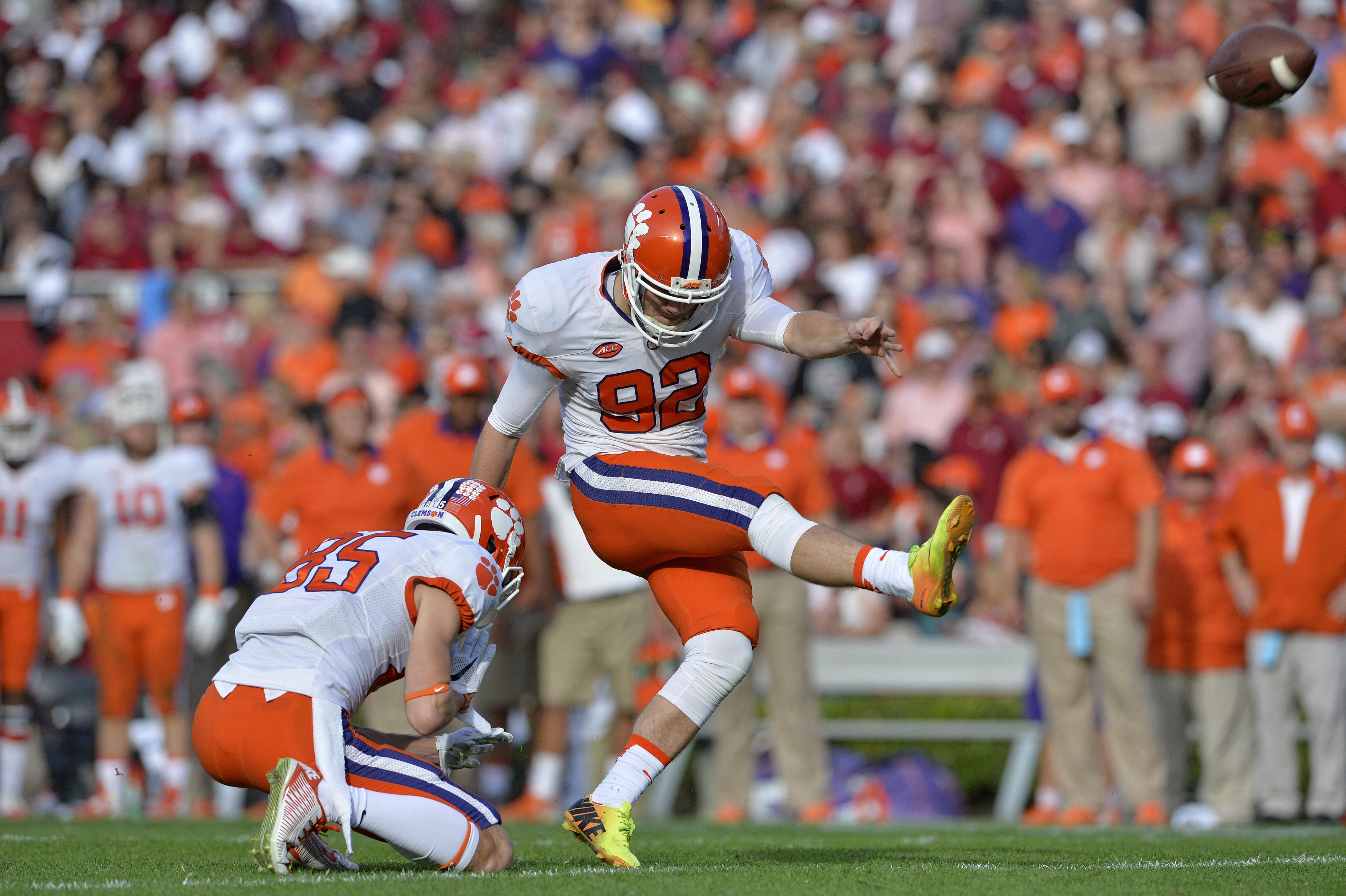 FILE - In this Nov. 28, 2015, file photo, Clemson kickerGreg Huegel connects for a 36 yard field goal during the second half of an NCAA college football game against South Carolina in Columbia, S.C. Huegel started last season as a walk-on kicker with litt