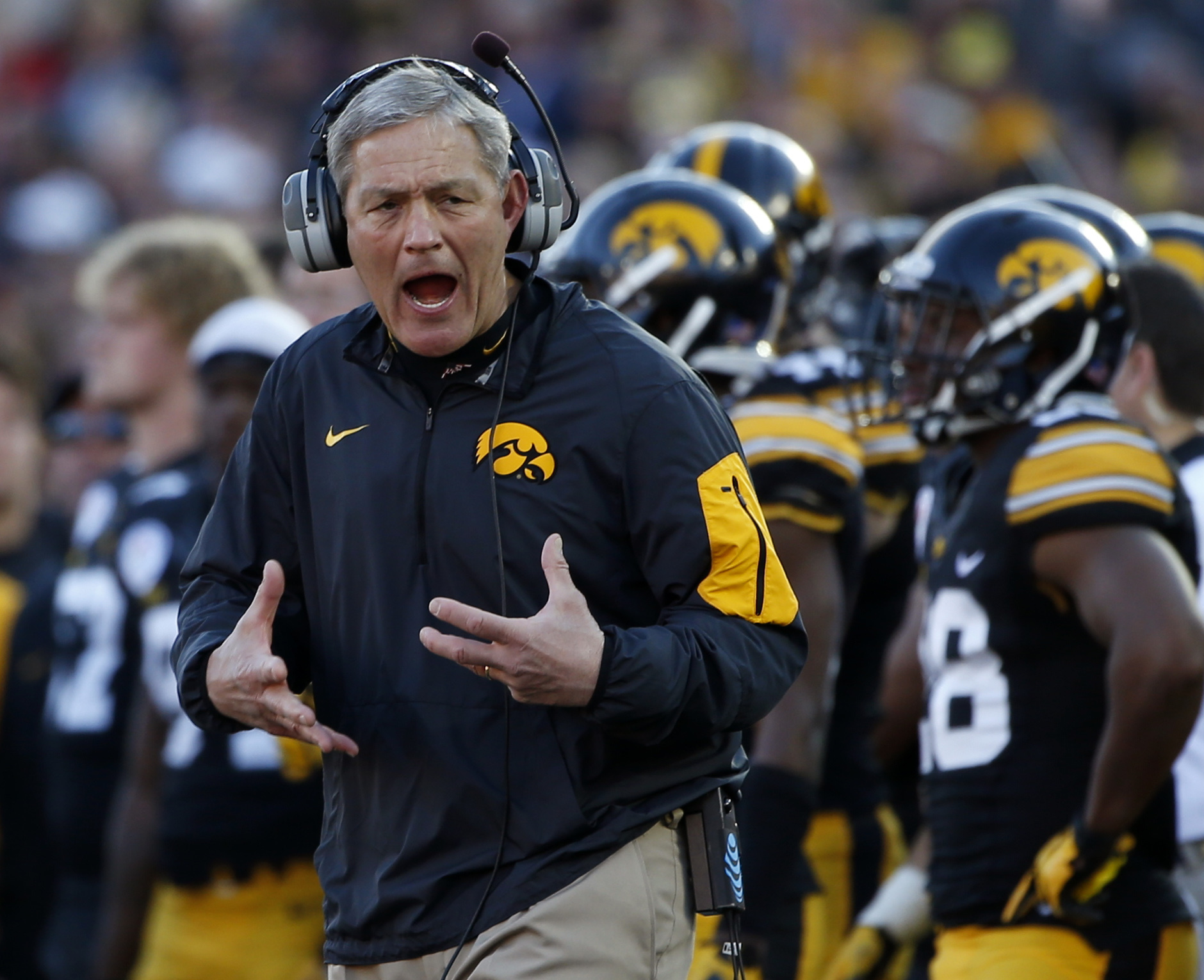FILE - In this Jan. 1, 2016, file photo, Iowa coach Kirk Ferentz reacts as Stanford running back Christian McCaffrey scores during the first half of the Rose Bowl NCAA college football game in Pasadena, Calif. Iowas 12-0 start last season led some to labe