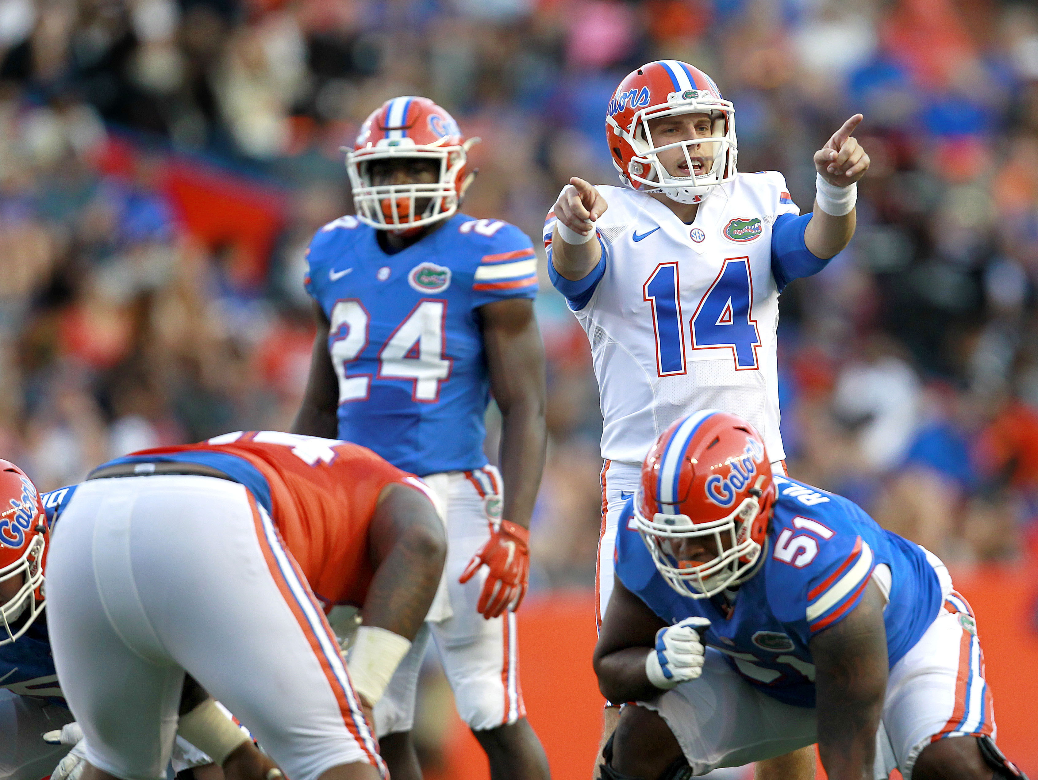 FILE - In this April 8, 2016, file photo, Florida quarterback Luke Del Rio points out defenders during the Orange and Blue Debut Spring Game at Ben Hill Griffin Stadium in Gainesville, Fla. Del Rio, the son of Oakland Raiders coach Jack Del Rio, is the fr