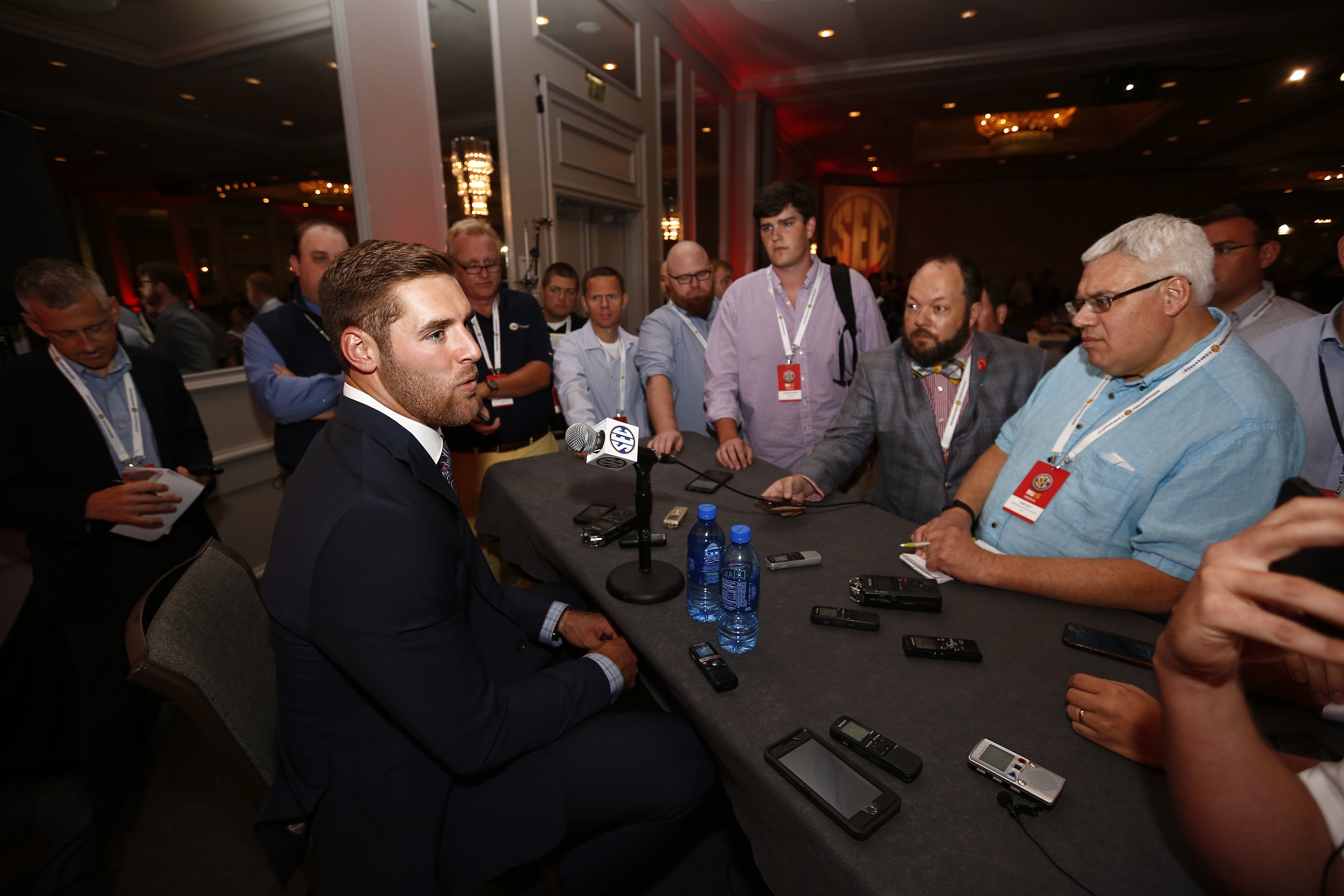 FILE - In this July 12, 2016, file photo, Texas A&M quarterback Trevor Knight speaks to the media at the Southeastern Conference NCAA college football media days, in Hoover, Ala. Texas A&M's defense should be just fine with Myles Garrett and Daeshon Hall
