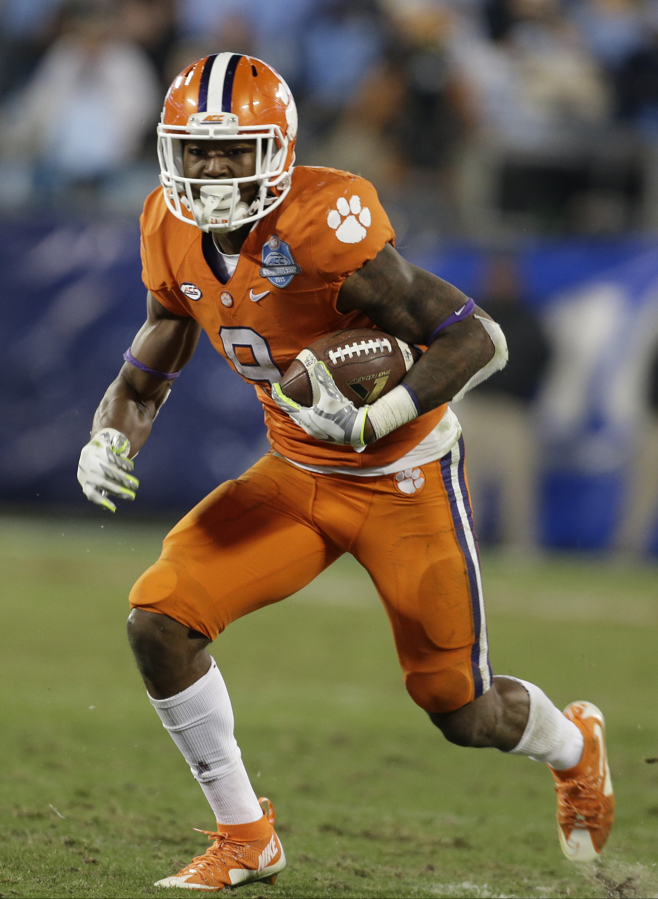 FILE - In this Dec. 5, 2015, file photo, Clemson's Wayne Gallman (9) runs against North Carolina during the second half of the Atlantic Coast Conference championship NCAA college football game in Charlotte, N.C. Gallman set Clemson's single-season rushing
